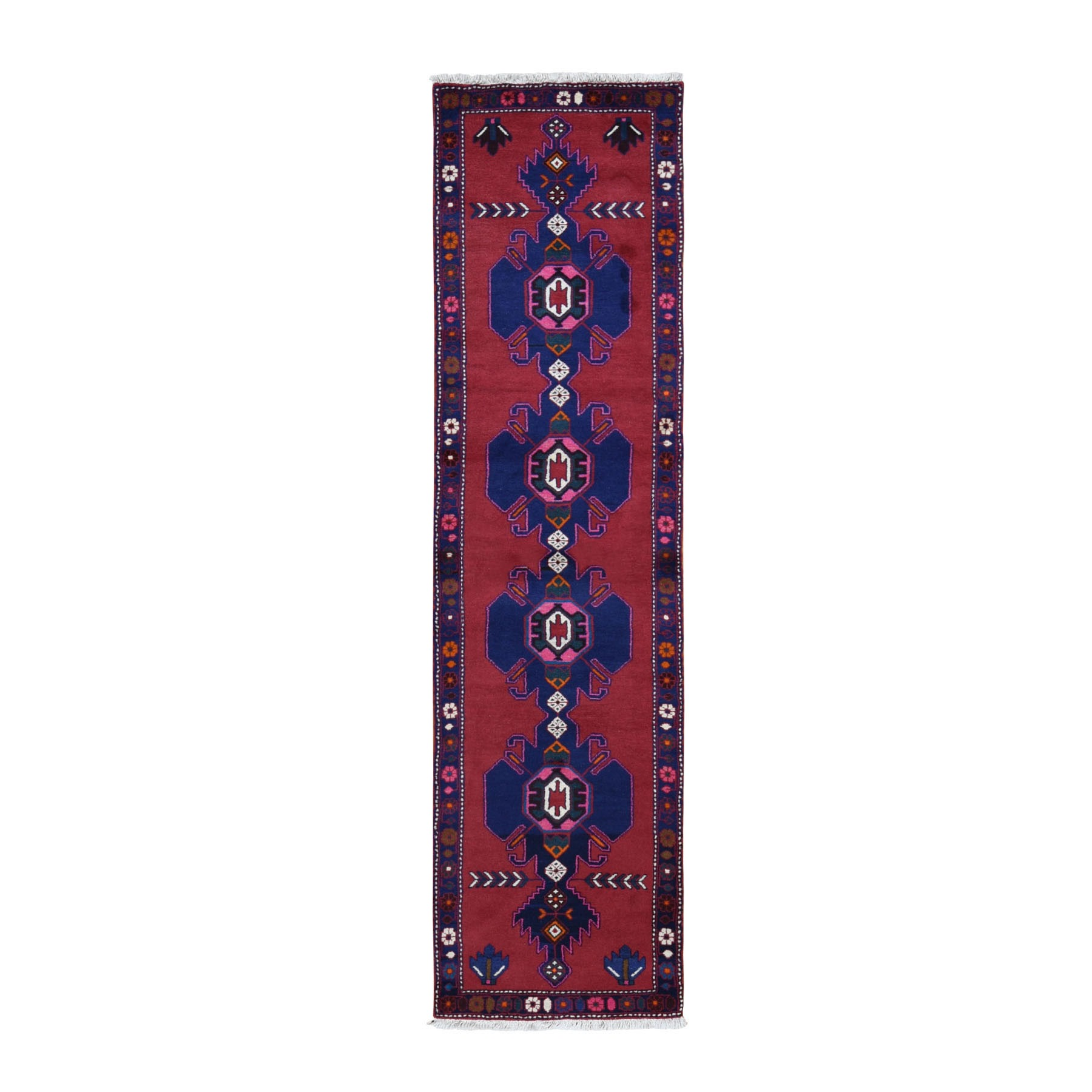 "2'6""X9'6"" Red New Persian Hamadan Pure Wool Repetitive Medallion Design Open Field Oriental Runner Rug moad986a"