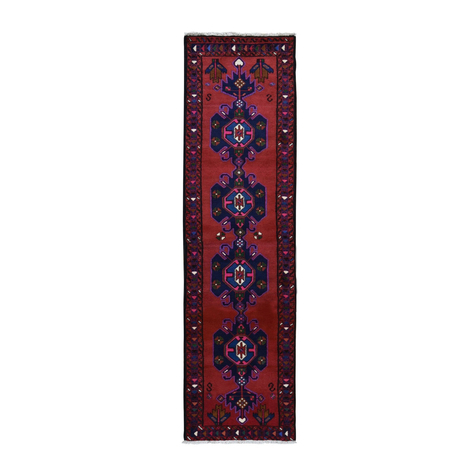 "2'4""x9'3"" Red New Persian Hamadan Pure Wool Repetitive Medallion Design Open Field Bohemian Runner Rug"