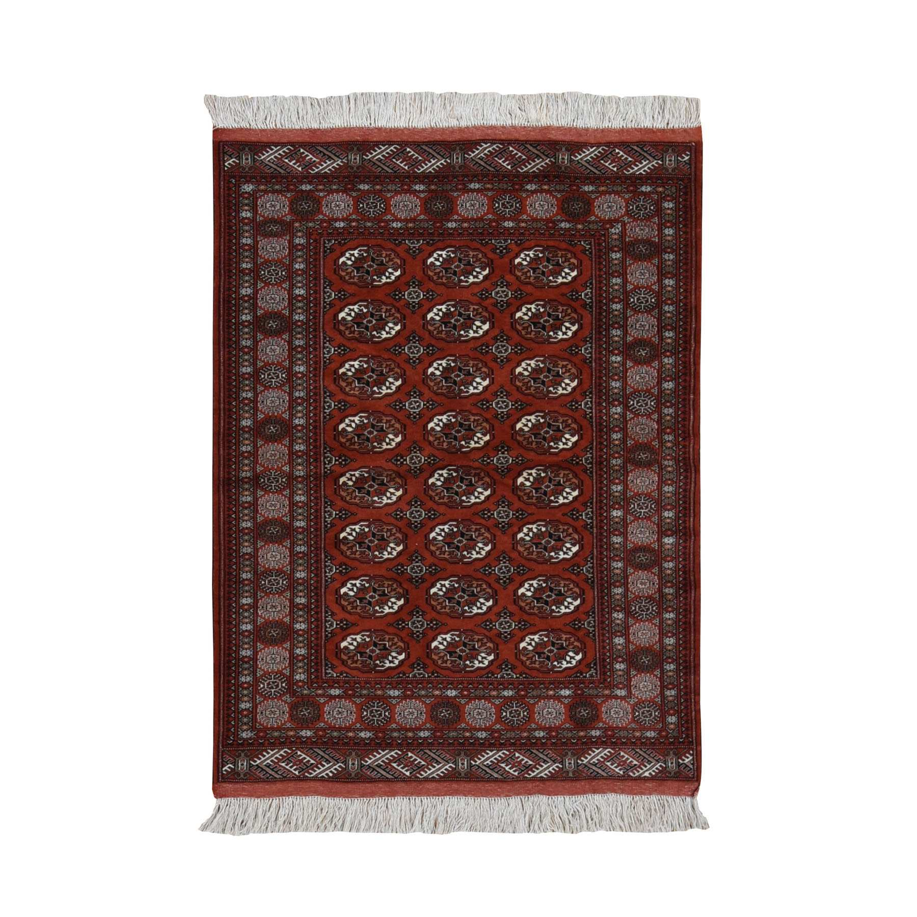 "4'4""x5'7"" Rust Red New Persian Turkoman Bokara Hi KPSI Pure Wool Hand Knotted Oriental Rug"