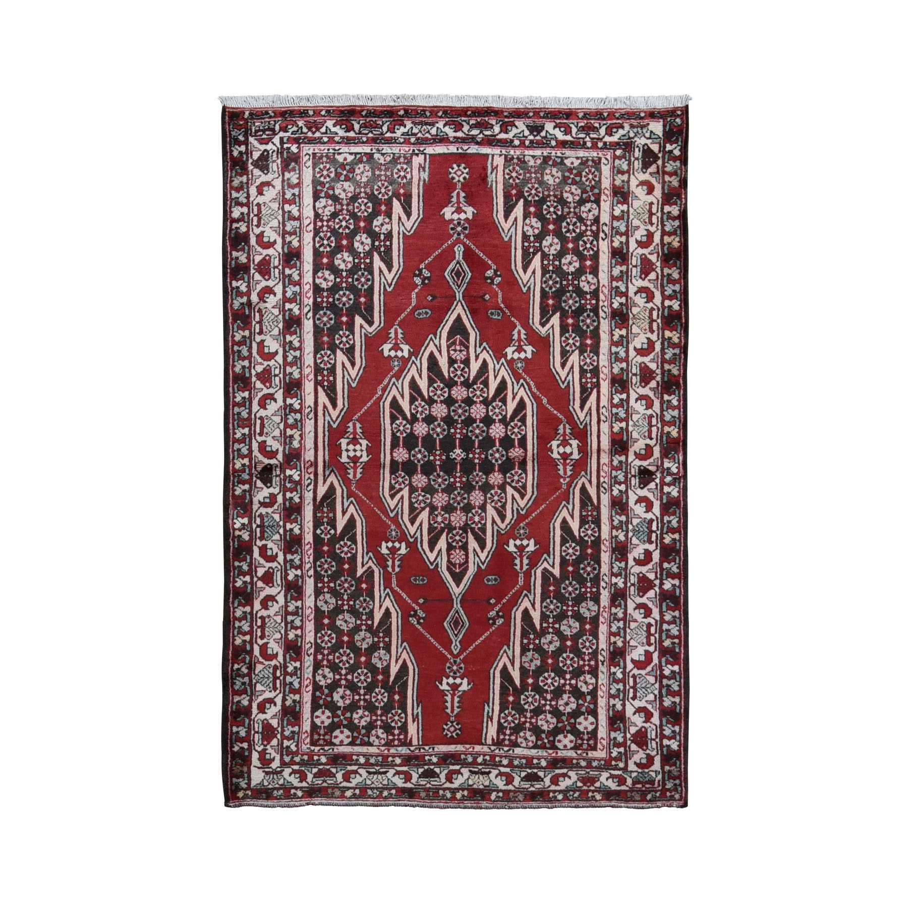 "4'5""x6'8"" Red Vintage Persian Mazlagan Pure Wool Hand Knotted Bohemian Rug"