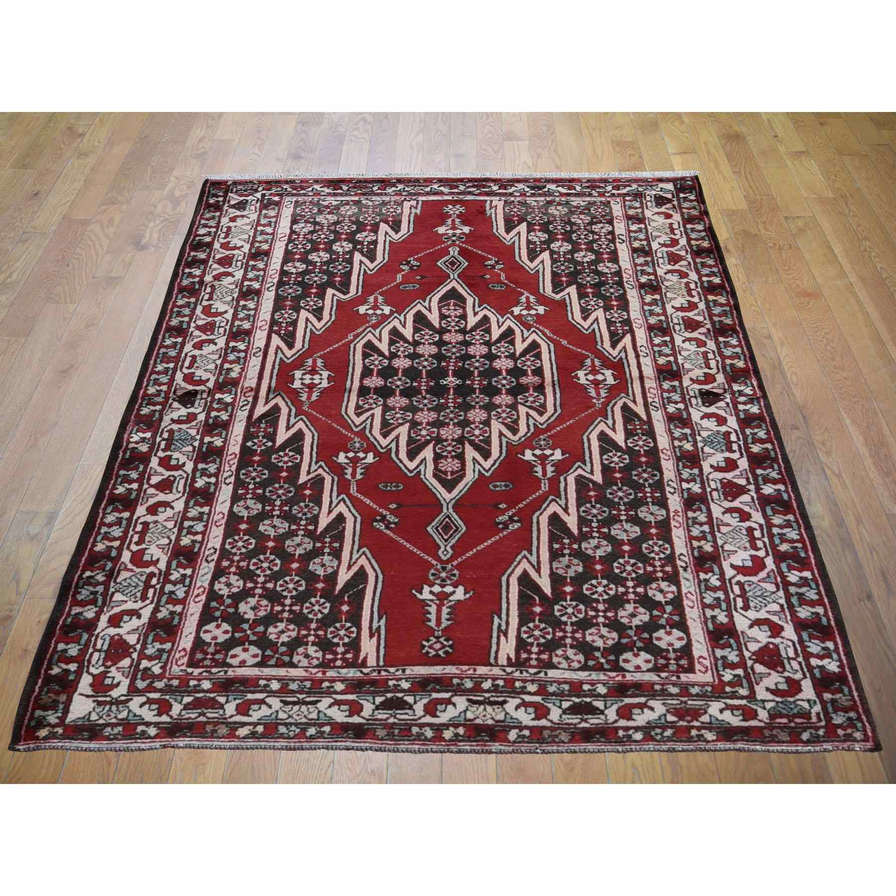 4-5 x6-8  Red Vintage Persian Mazlagan Pure Wool Hand Knotted Bohemian Rug