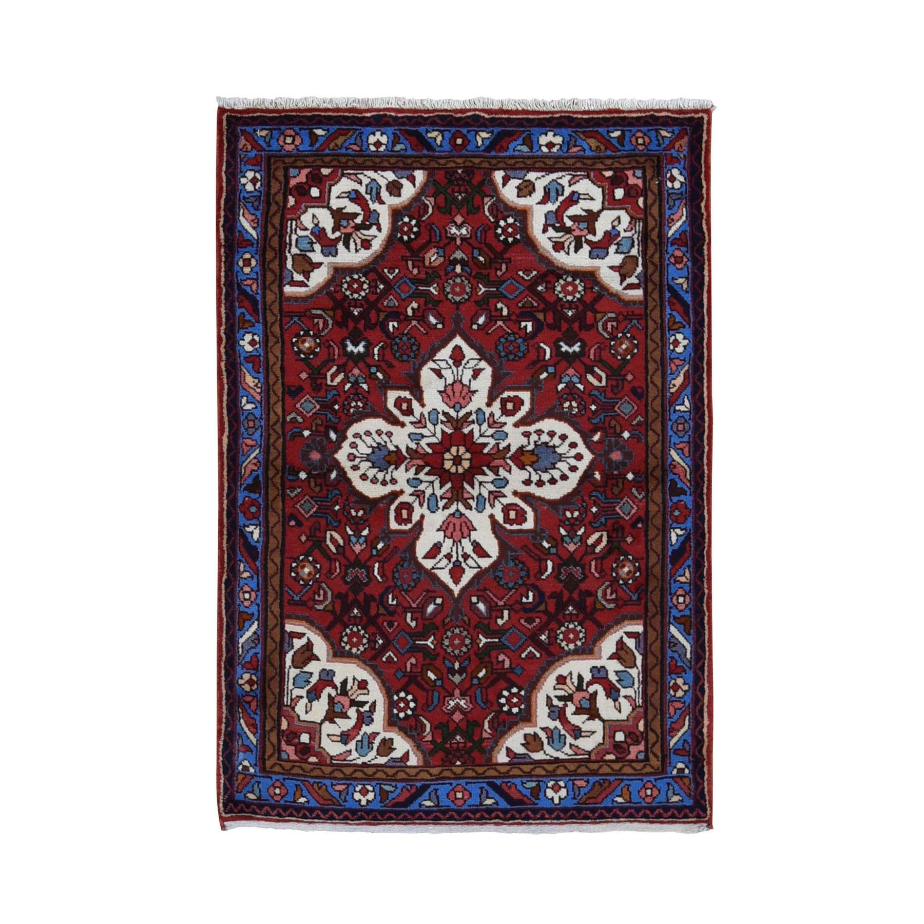 Red New Persian Hamadan Pure Wool Hand Knotted Bohemian Rug