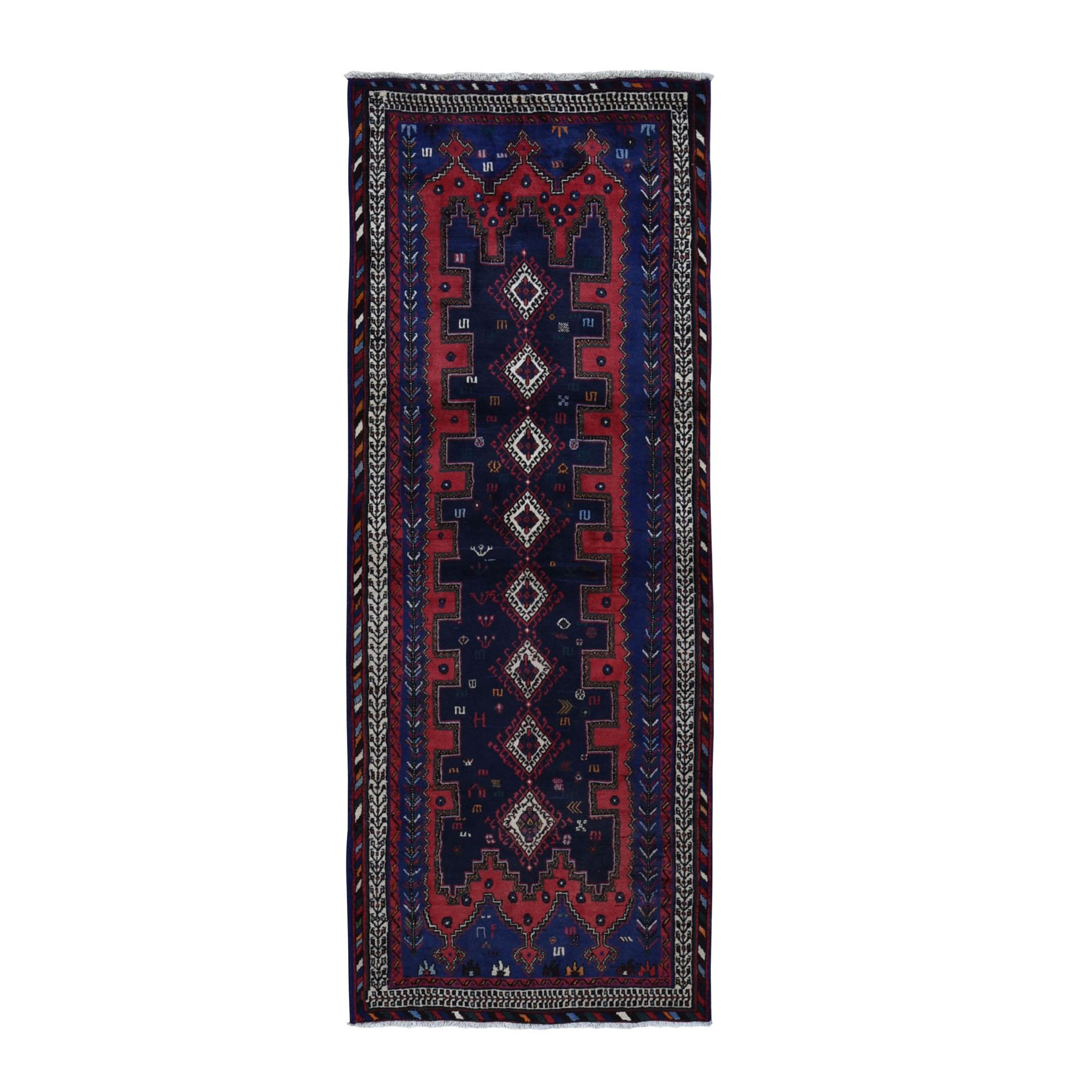 "3'5""x9' Navy Blue New Persian Afshar Geometric Design Pure Wool Hand Knotted Wide Runner Oriental Rug"