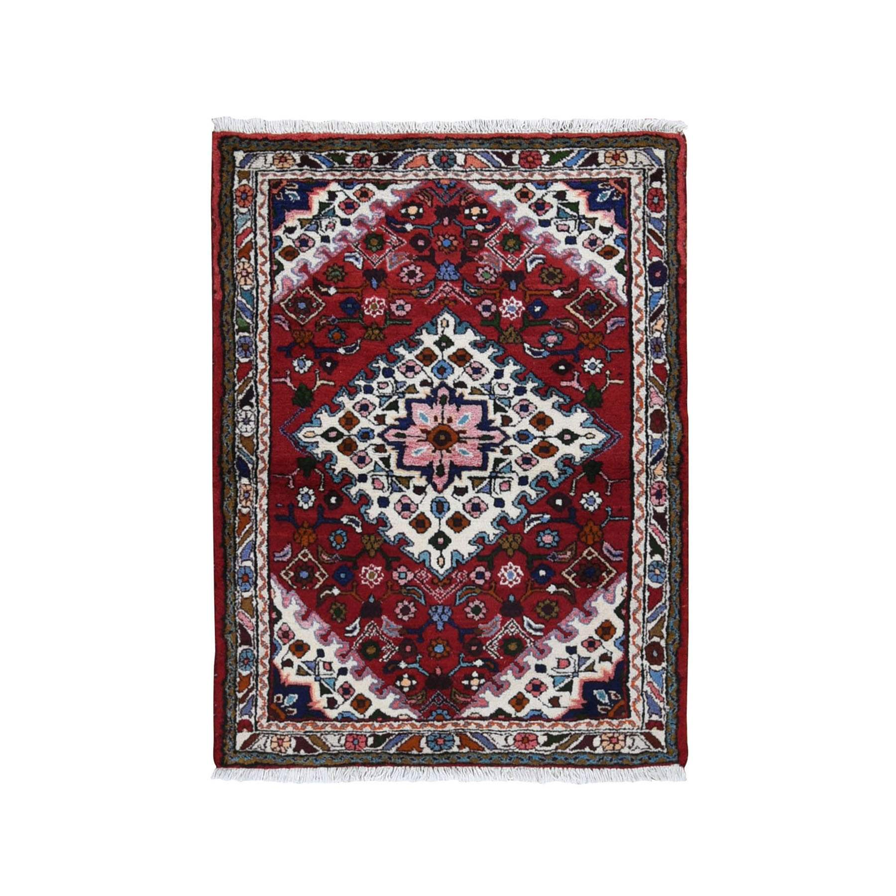 "3'7""x4'8"" Red New Persian Hamadan Pure Wool Hand Knotted Bohemian Rug"