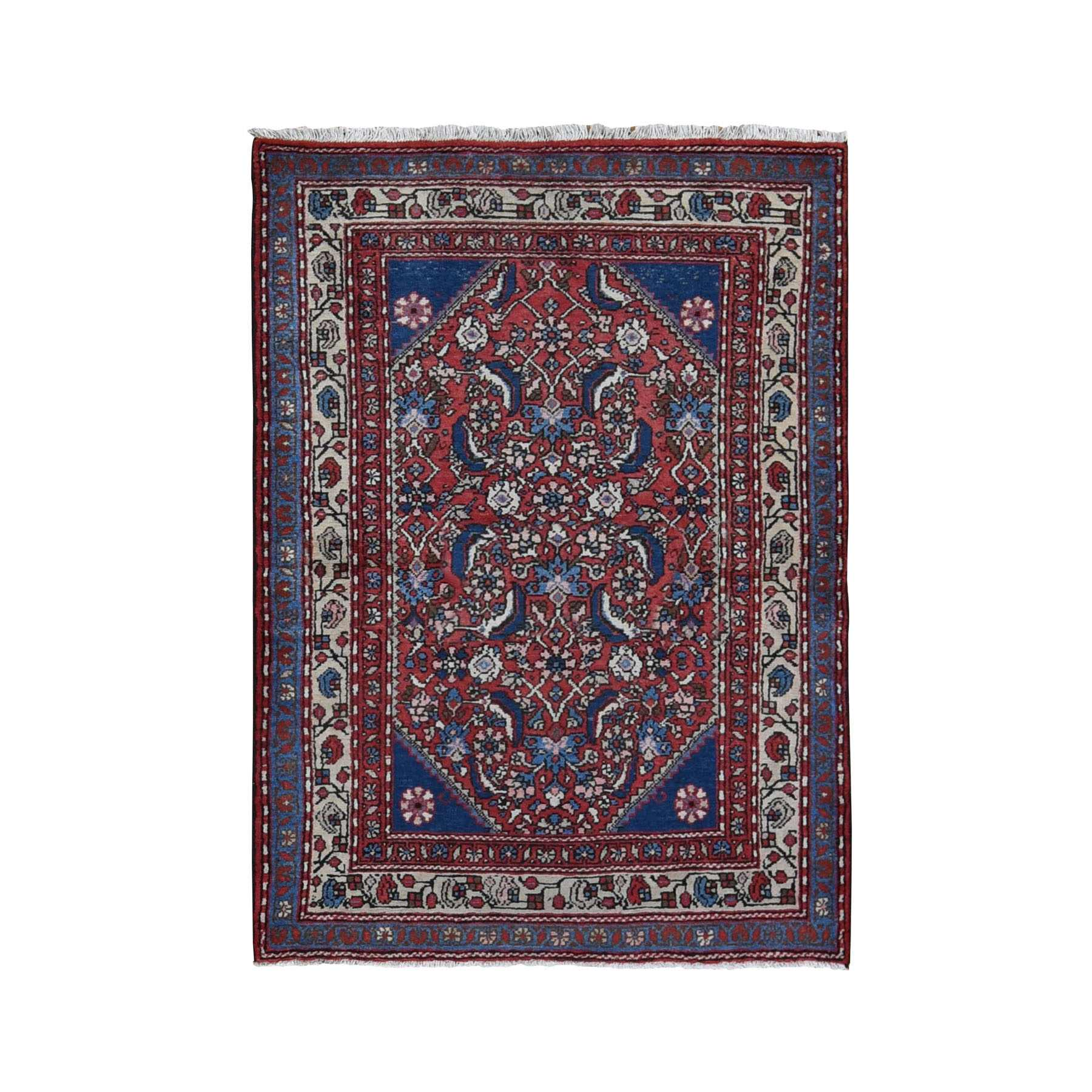 "3'8""x5' Red Vintage Persian Hamadan Mahi Fish design Pure Wool Hand Knotted Oriental Rug"