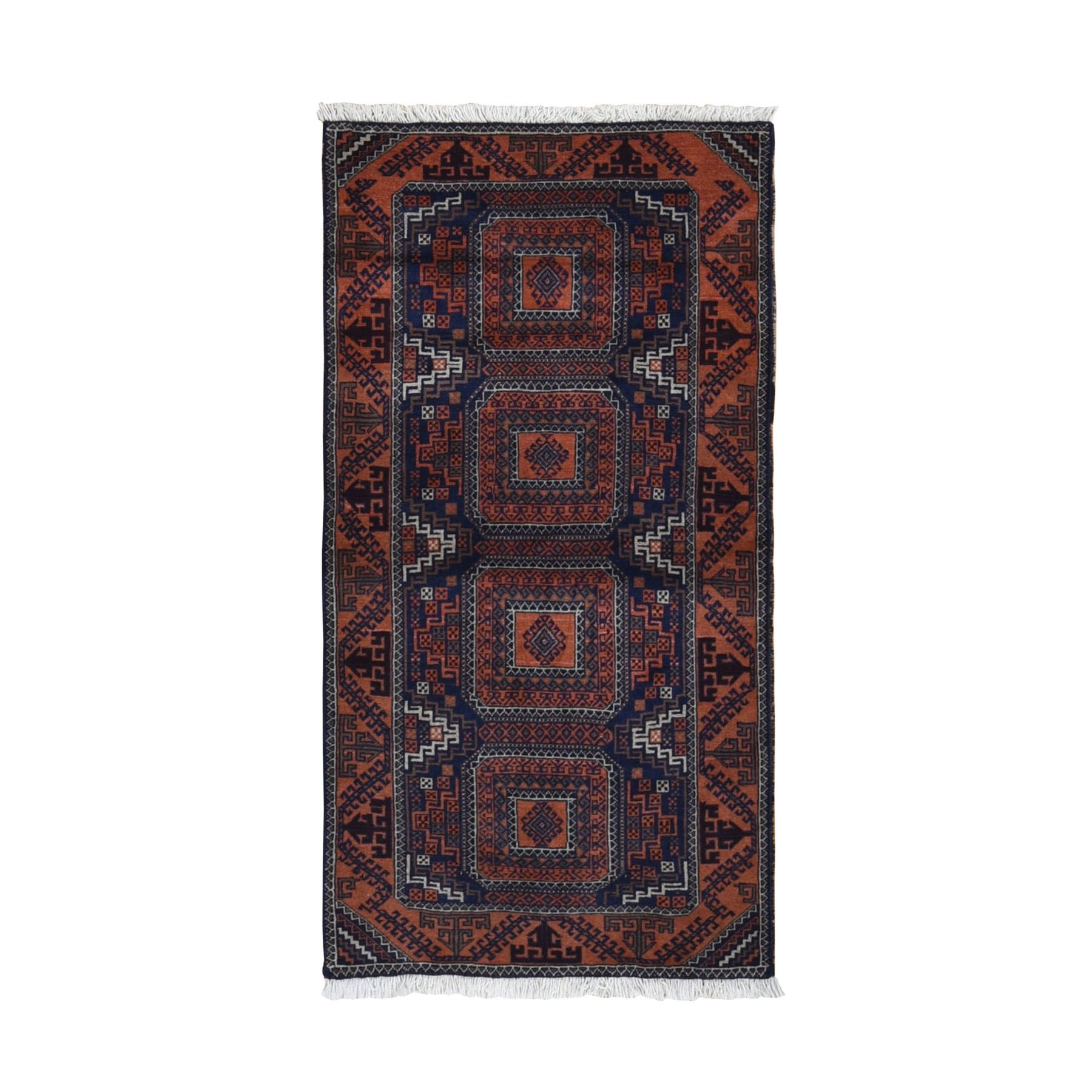 "2'10""x5'6"" Navy Persian Baluch Geometric Design Pure Wool Hand Knotted Oriental Rug"