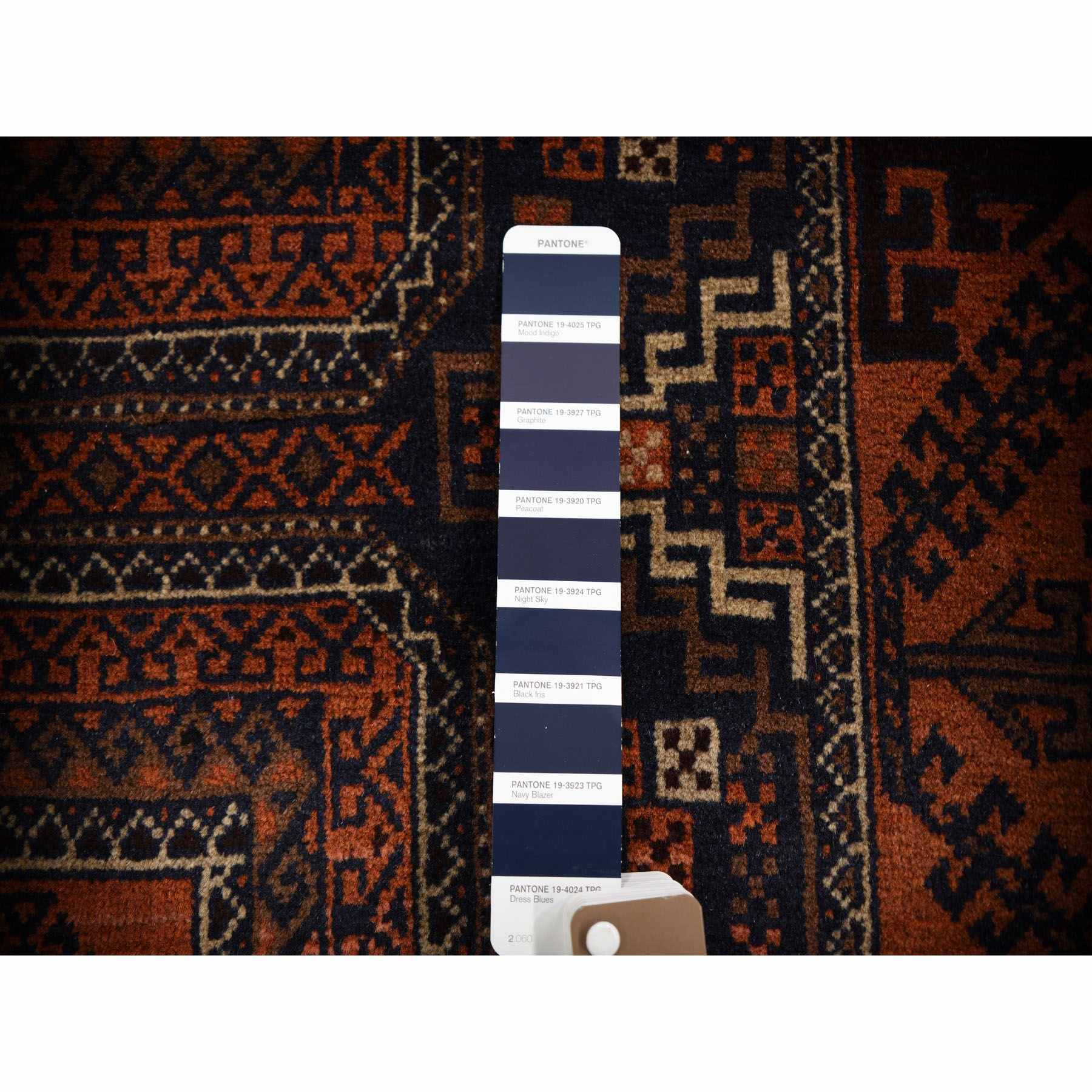 2-10 x5-6  Navy Persian Baluch Geometric Design Pure Wool Hand Knotted Oriental Rug