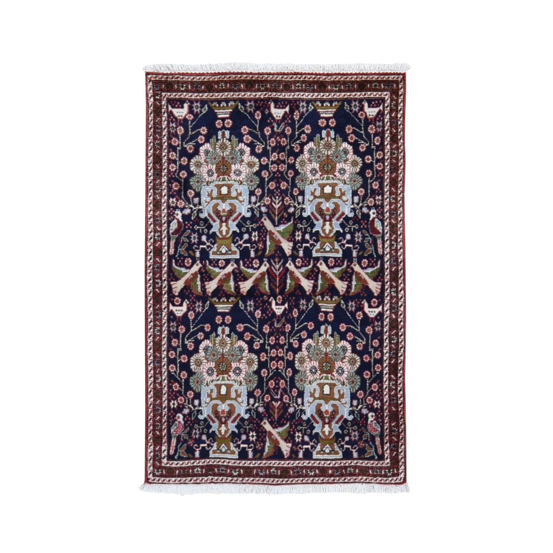 "2'8""x4'7"" Navy New Persian Birjand With Flower And Birds Design Hand Knotted Pure Wool Oriental Rug"