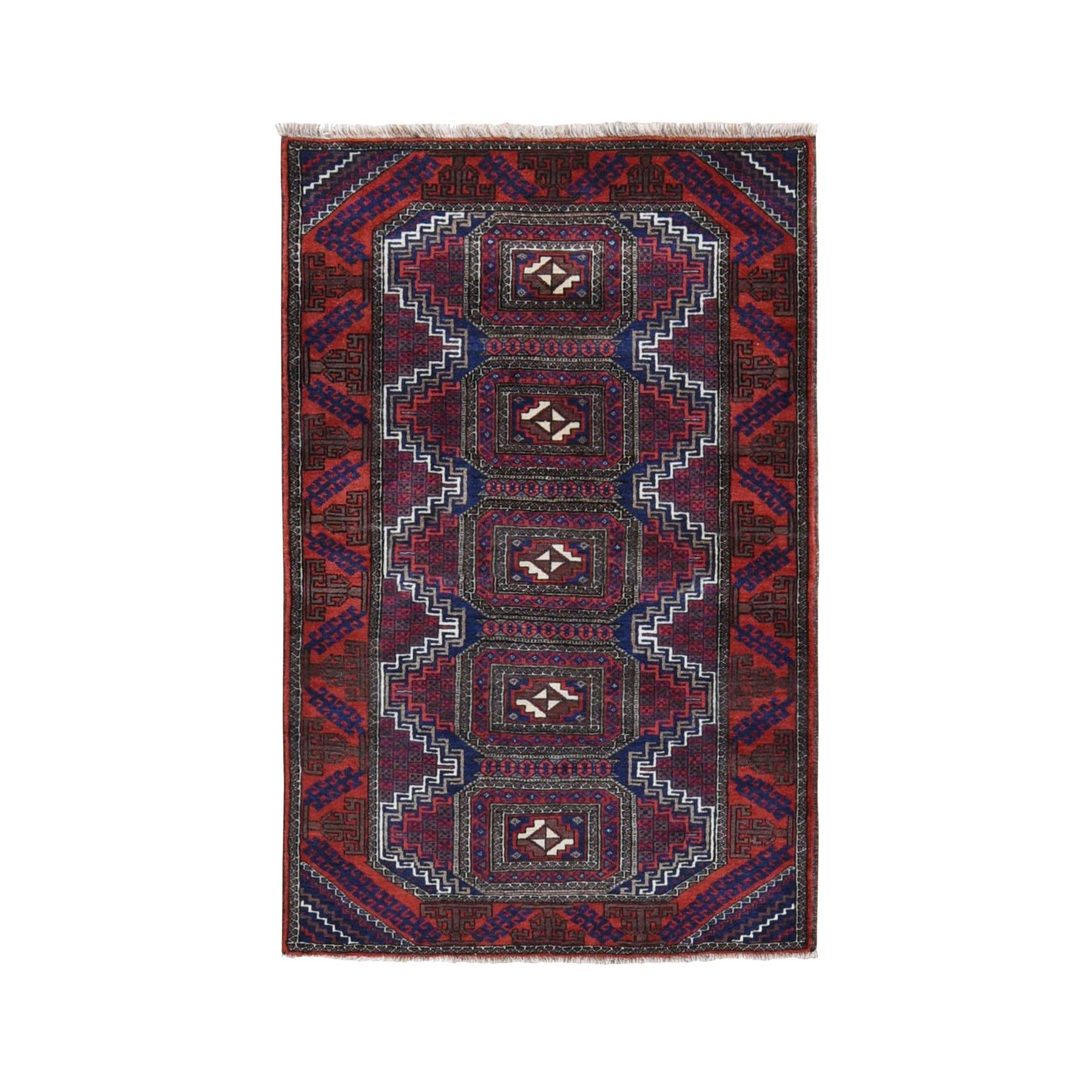 "3'2""x5' Red Vintage Persian Baluch Geometric Design Pure Wool Hand Knotted Oriental Rug"