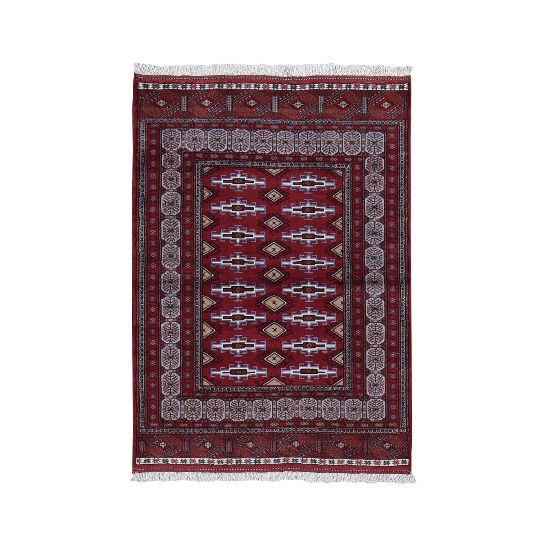"3'7""x5' Red New Persian Turkoman Bokara Pure Wool Hand Knotted Bohemian Rug"