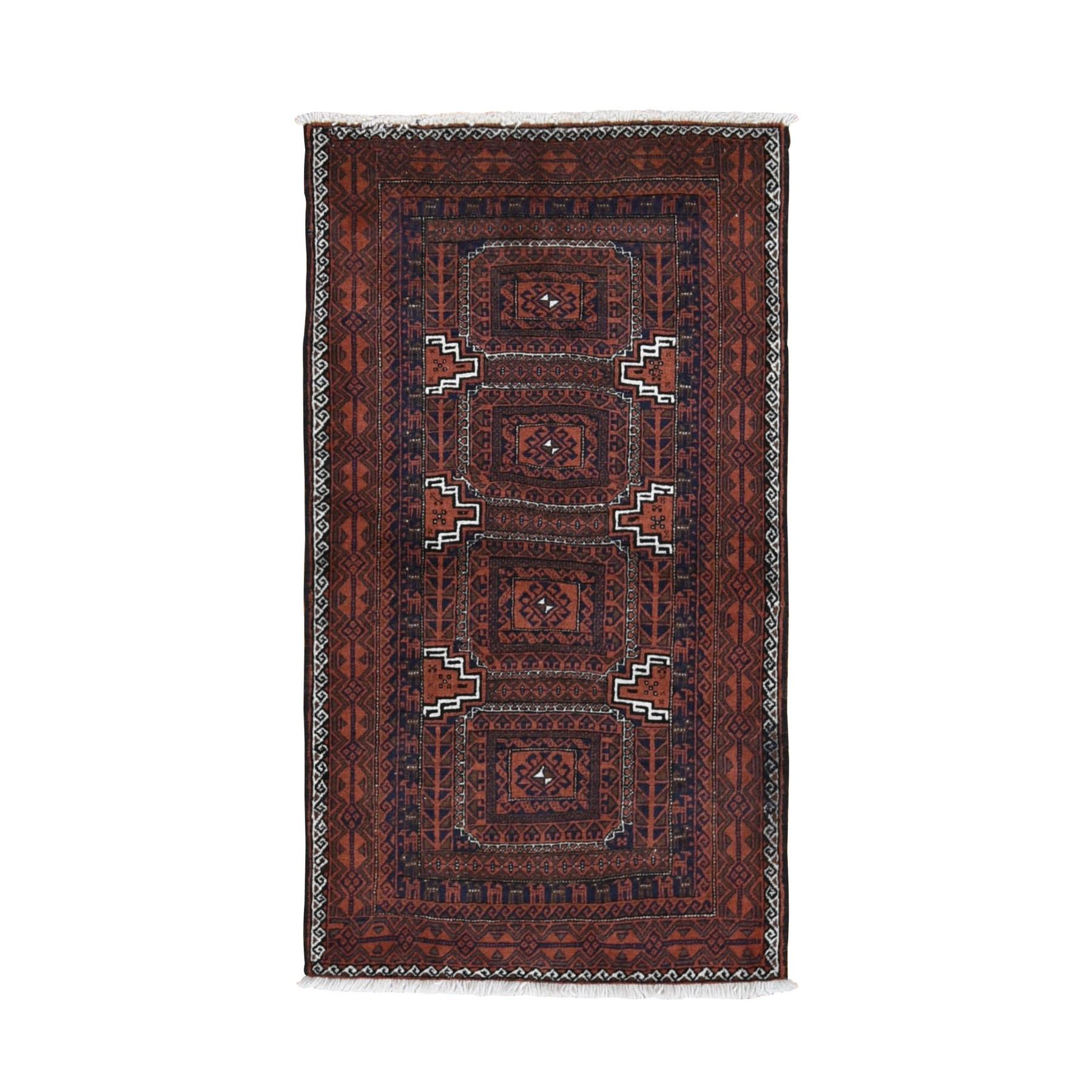 "2'9""x5'1"" Red Vintage Persian Baluch Tribal Design Pure Wool Hand Knotted Oriental Rug"
