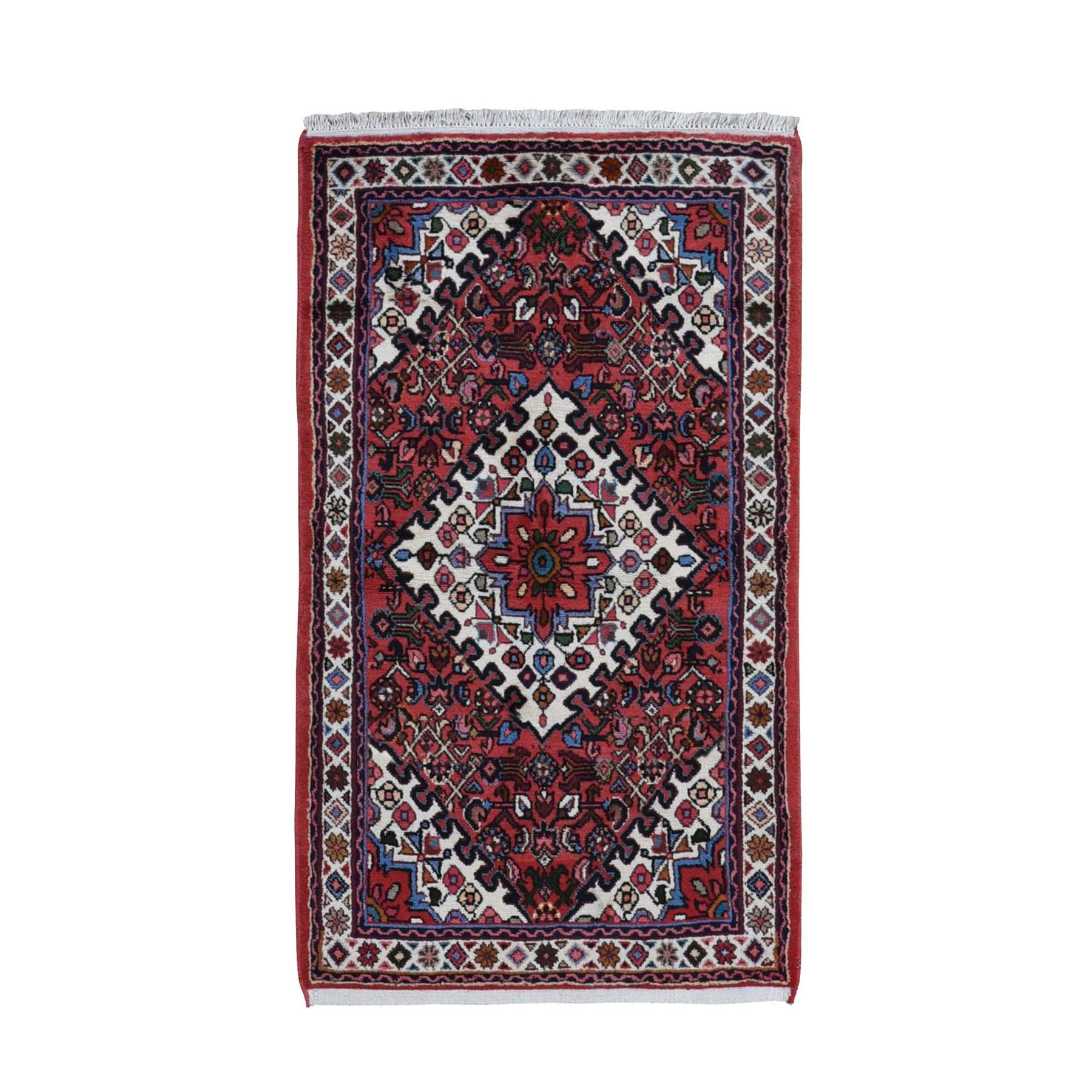 "3'2""x5'9"" Red New Persian Hamadan Pure Wool Hand Knotted Bohemian Rug"
