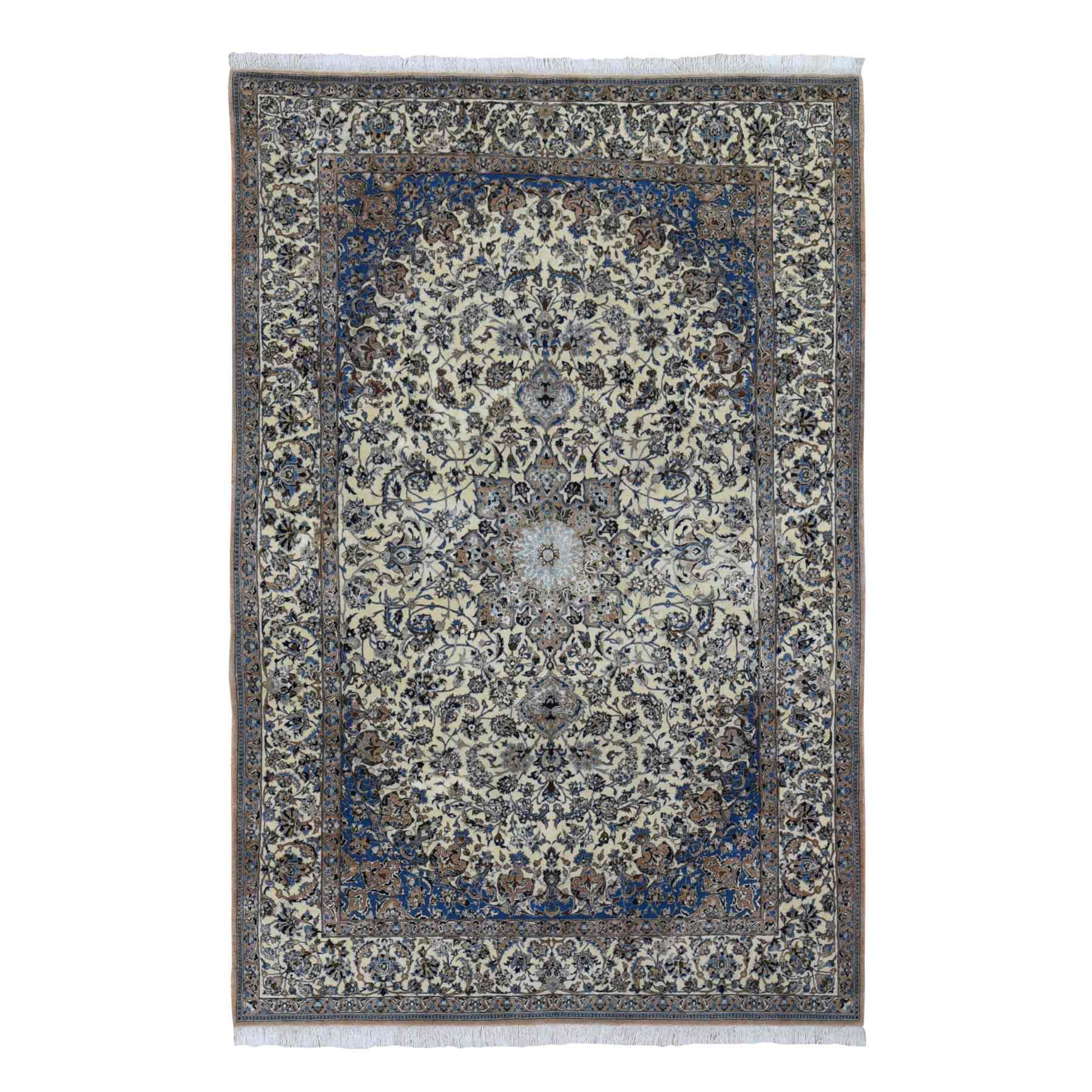 "5'8""x8'5"" Ivory Vintage Persian Nain Clean 400 KPSI Wool And Silk Exc Cond Hand Knotted Oriental Rug"