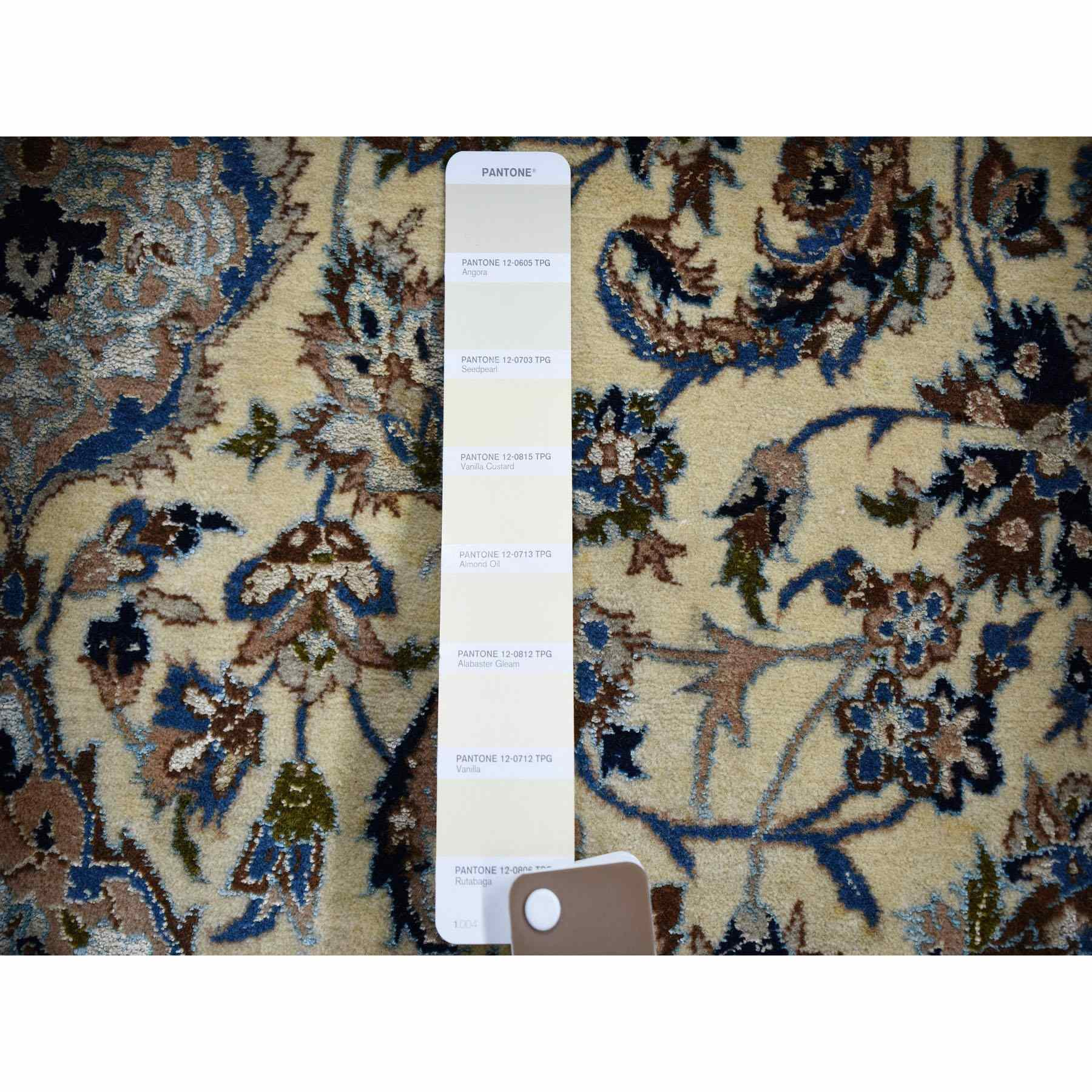 5-8 x8-5  Ivory Vintage Persian Nain Clean 400 KPSI Wool And Silk Exc Cond Hand Knotted Oriental Rug