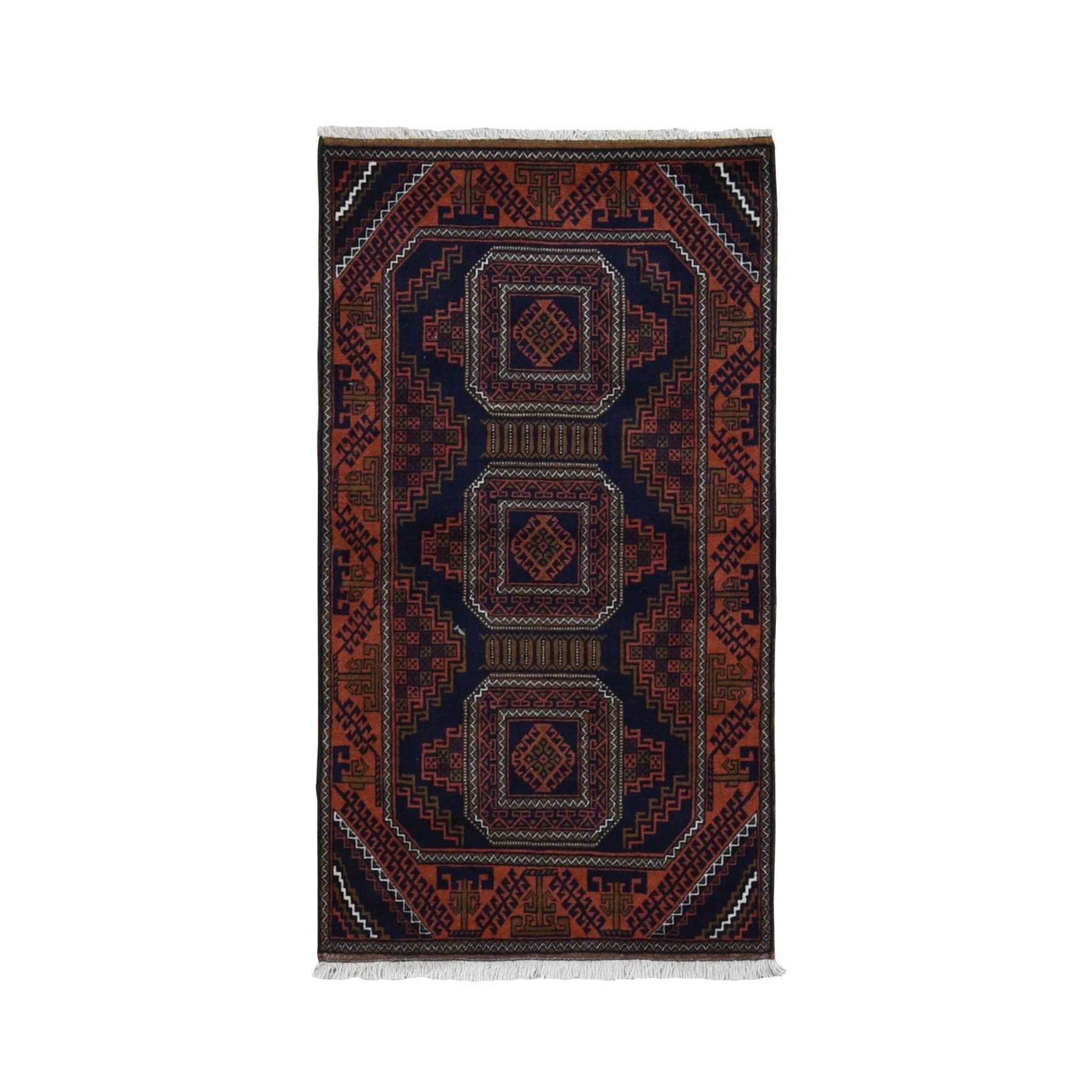 "2'9""x5' Navy Vintage Persian Baluch Geometric Design Pure Wool Hand Knotted Oriental Rug"