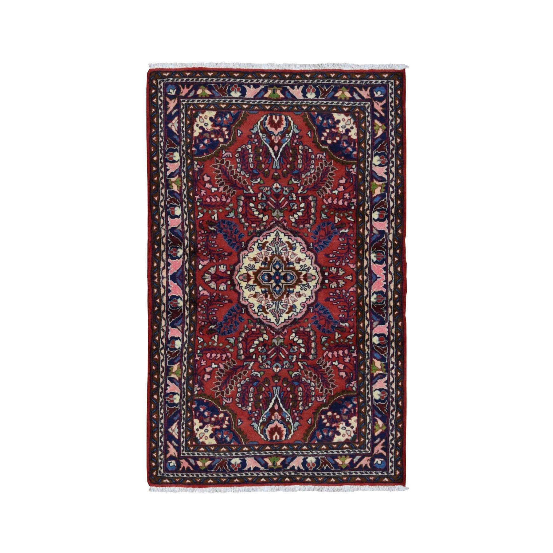 "3'3""x5'6"" Red New Persian Lilihan Pure Wool Hand Knotted Bohemian Rug"