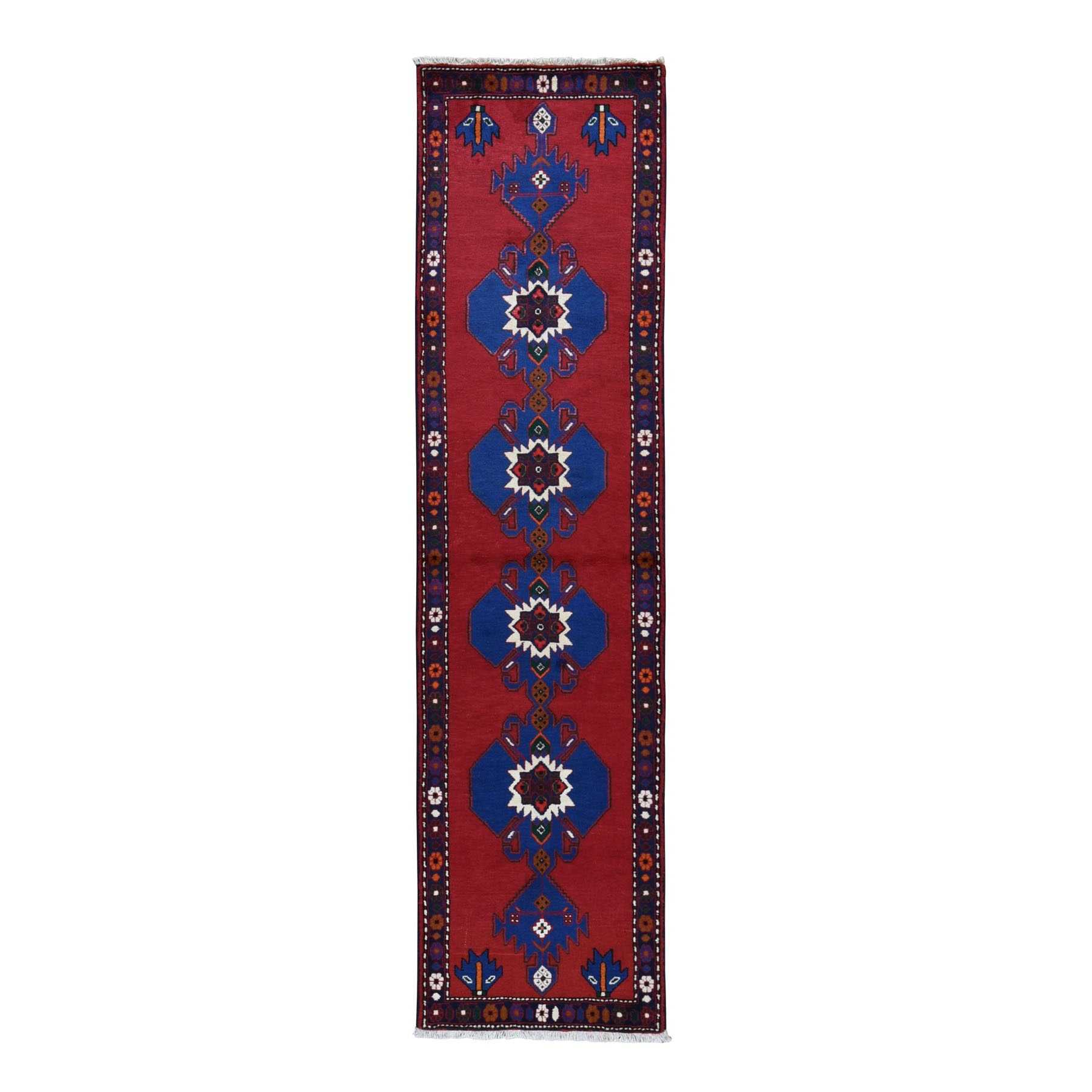 "2'5""x9'5"" Red New Persian Hamadan Pure Wool Repetitive Medallion Design Open Field Oriental Runner Rug"