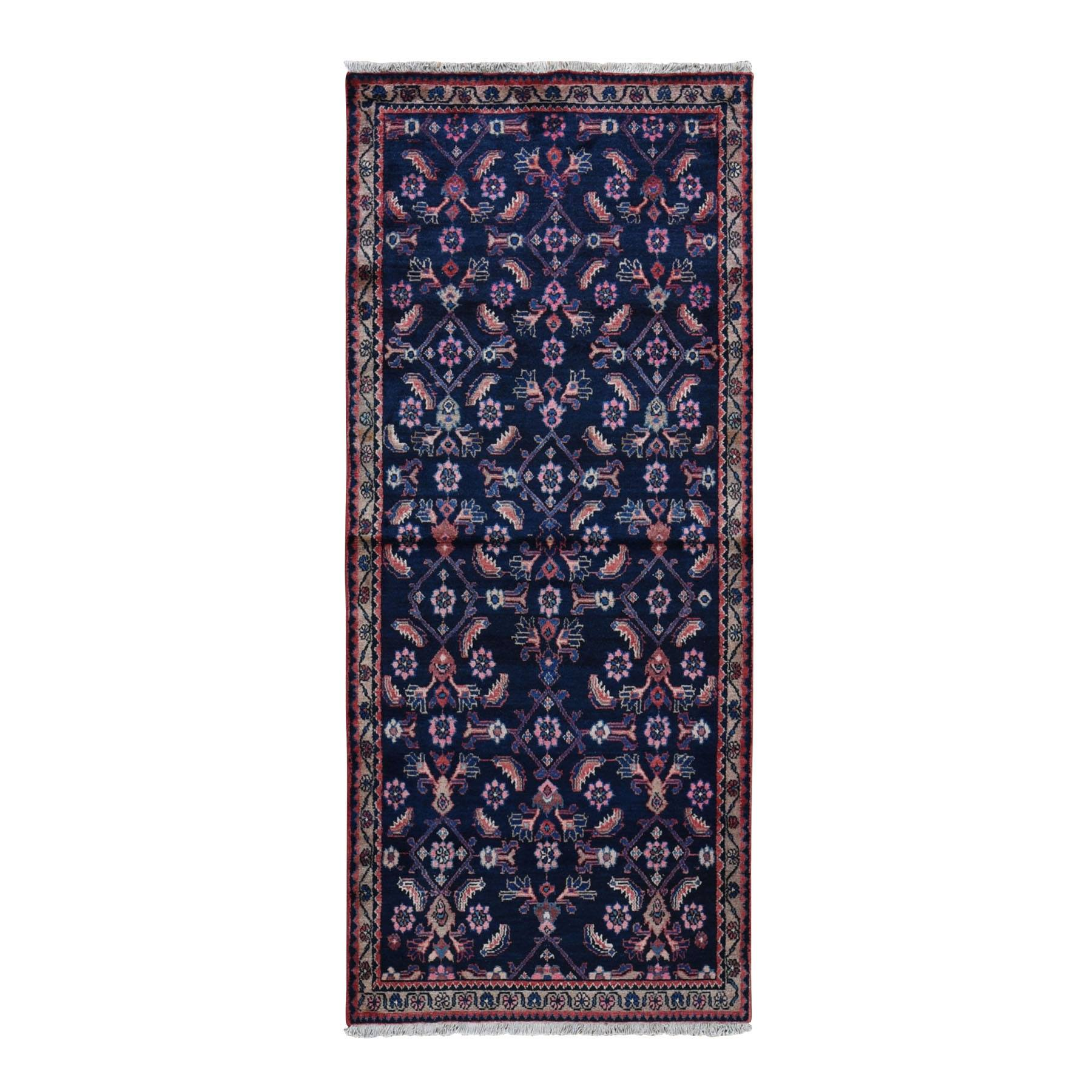 "3'5""x8' Navy Blue Vintage Persian Malayer Herat Fish Design Wide Runner Hand Knotted Bohemian Rug"