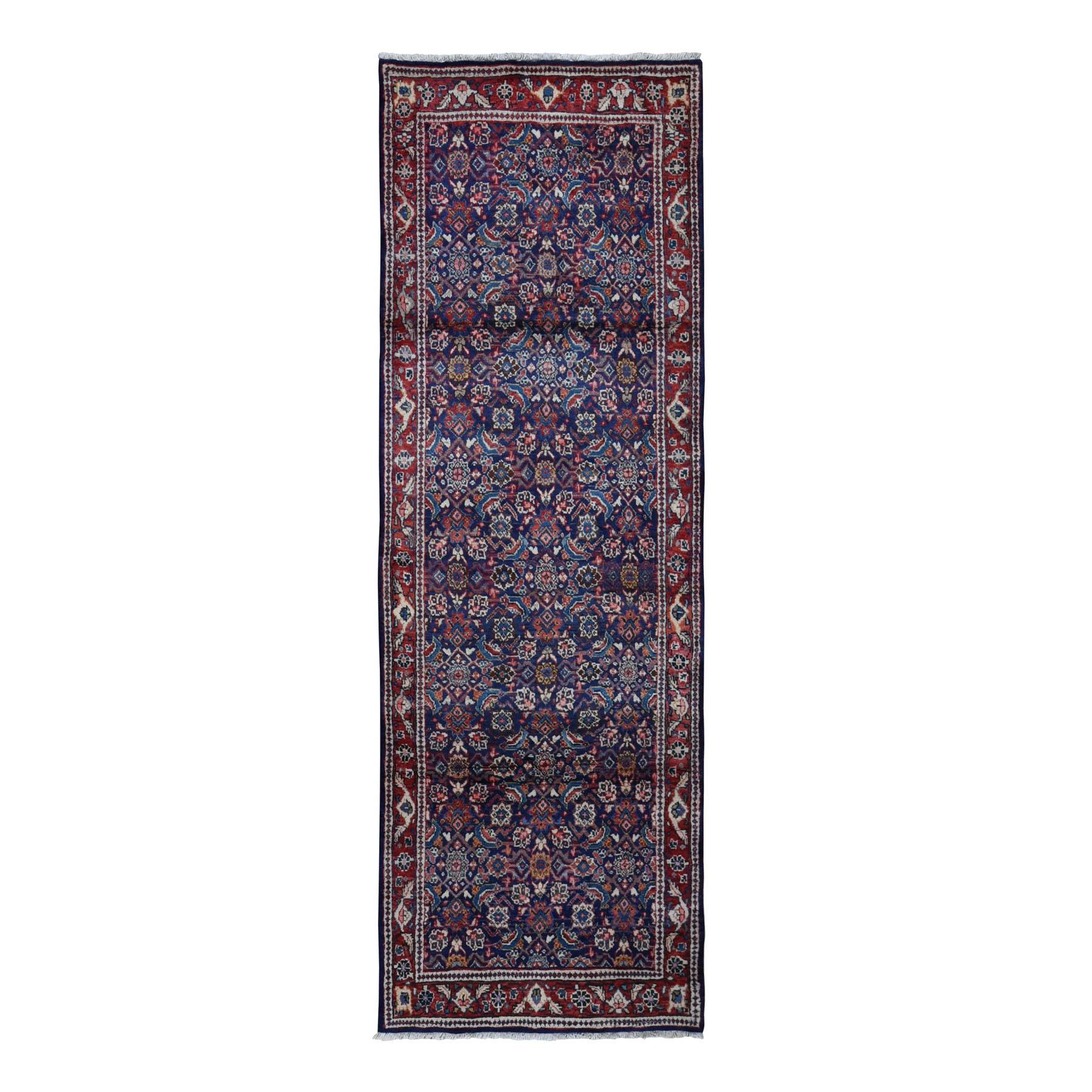 "3'4""x9'8"" Navy Blue Vintage Persian Mahal All Over Fish Design Wide Runner Oriental Rug"