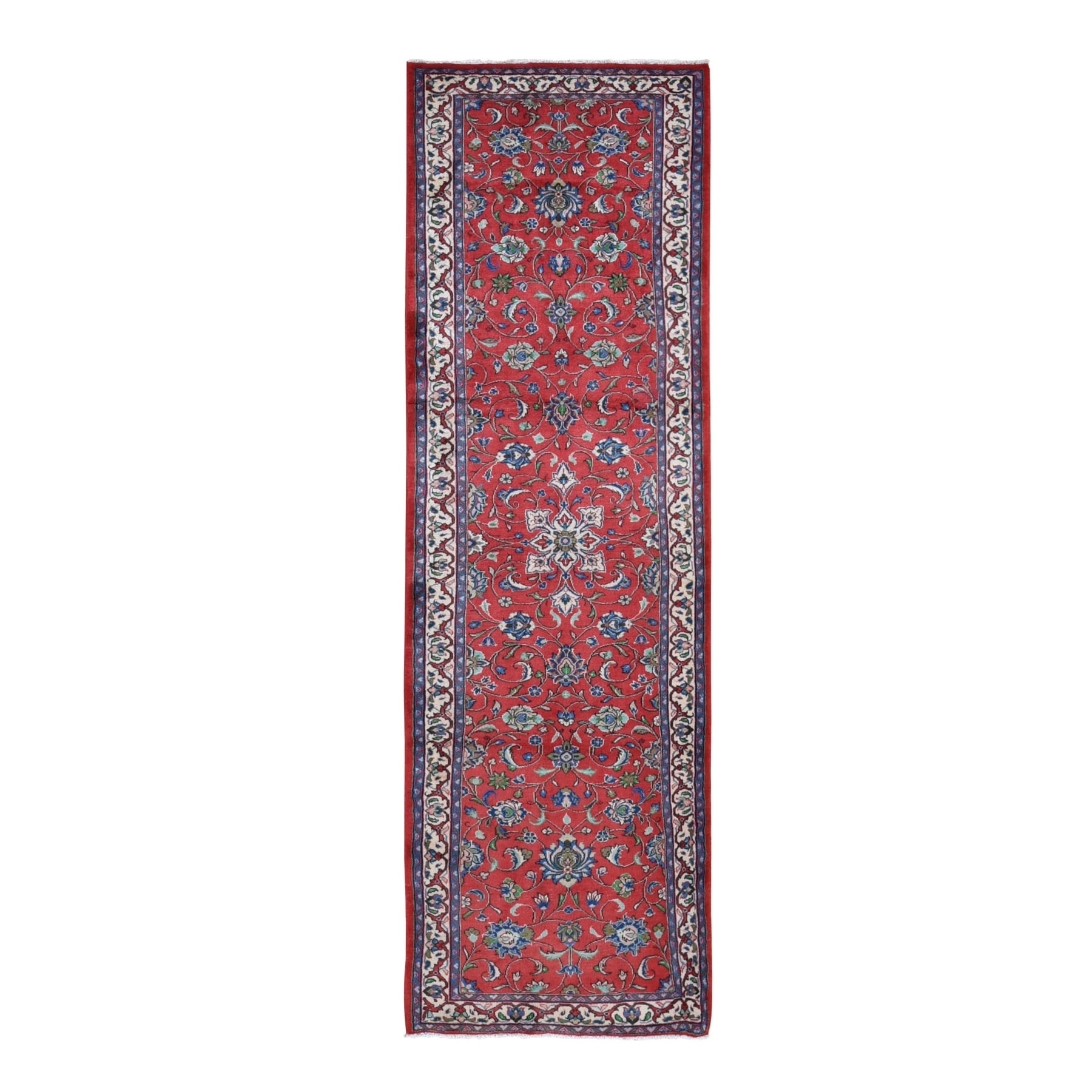"3'x9'8"" Red New Persian Sarouk Pure Wool Hand Knotted Runner Oriental Rug"