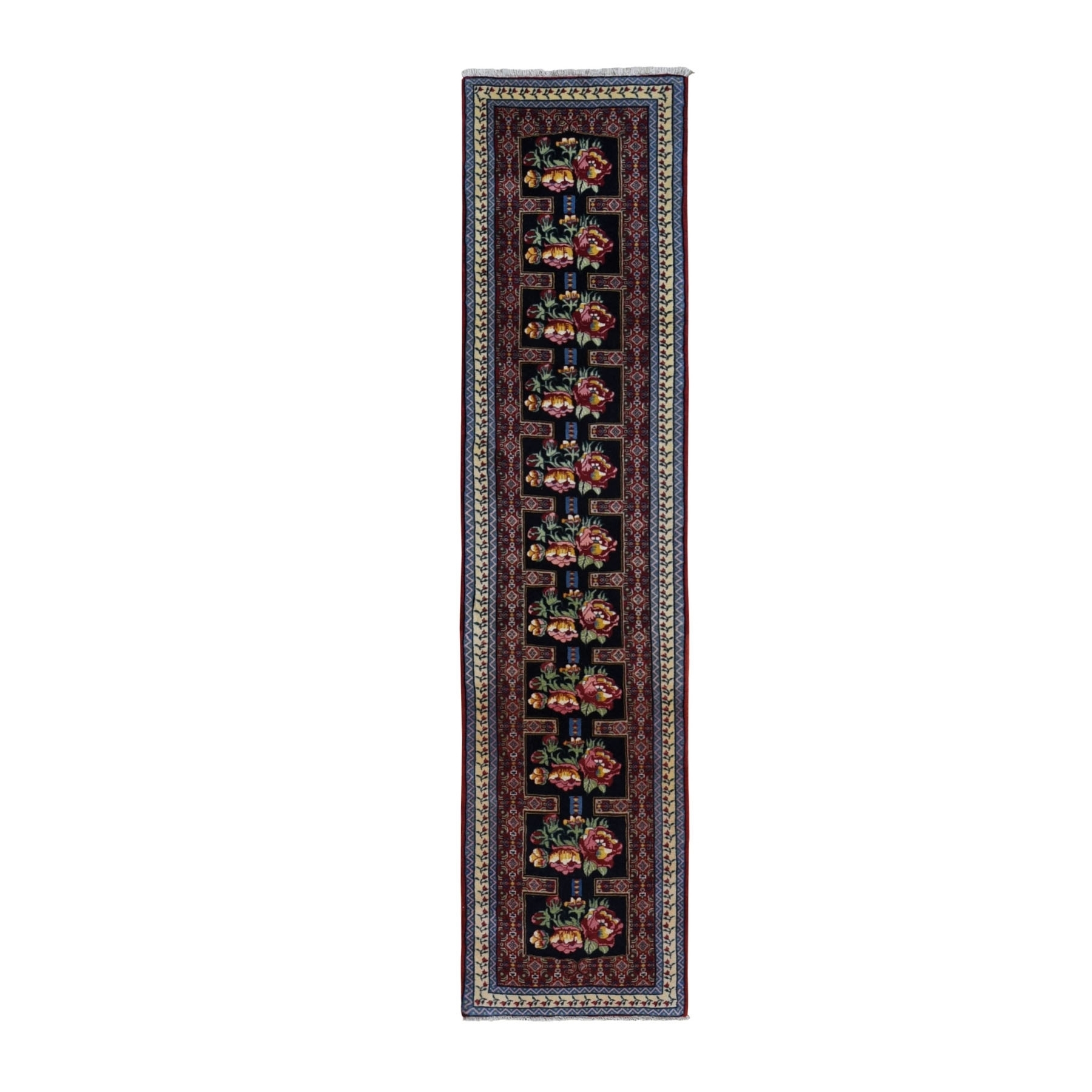 "2'x8'9"" Navy Blue New Persian Bijar Dense Weave Repetitive Flower Design Narrow Runner Rug"