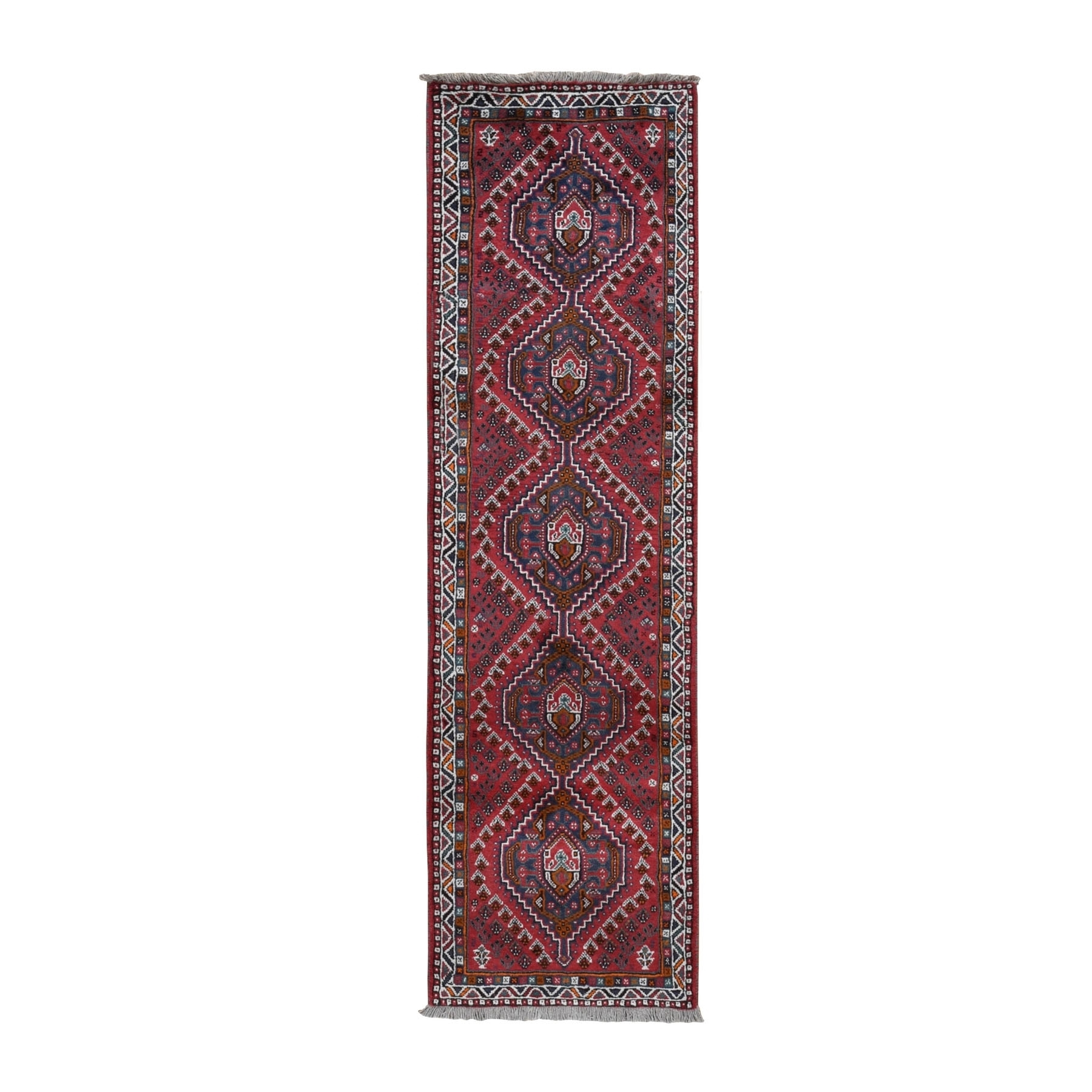 "2'9""x9'7"" Red New Persian Shiraz Pure Wool Runner Hand Knotted Tribal Design Bohemian Rug"