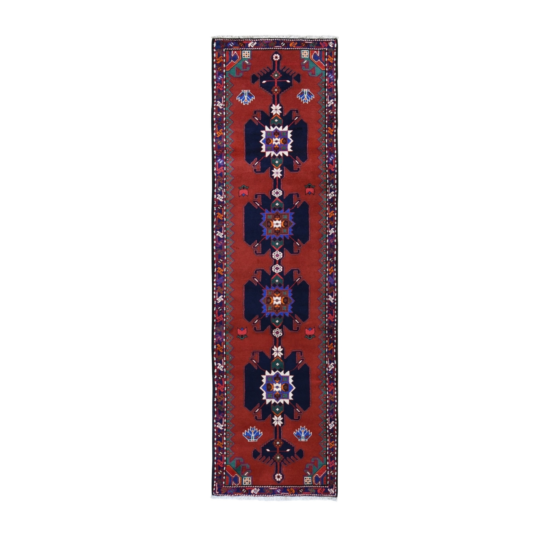 "2'6""X9'7"" Red New Persian Hamadan Pure Wool Open Field Hand Knotted Runner Bohemian Rug moad9896"