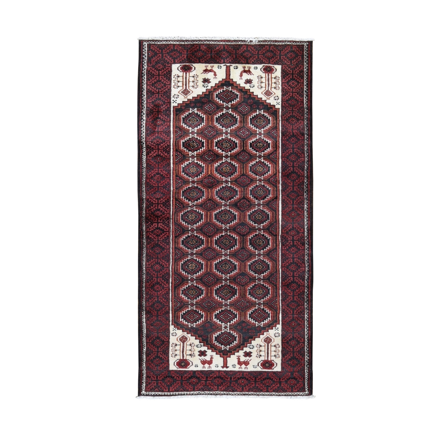 "3'8""x7'9"" Red Vintage Persian Baluch With Peacock Design Wide Runner Pure Wool Hand Knotted Oriental Rug"