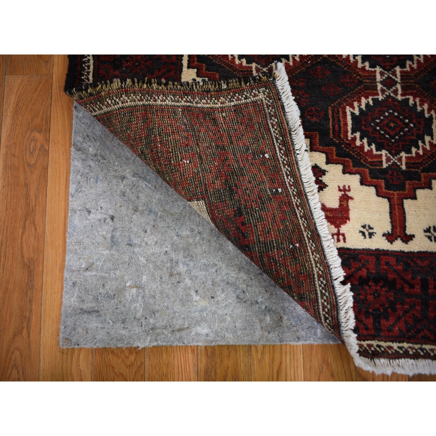 3-8 x7-9  Red Vintage Persian Baluch With Peacock Design Wide Runner Pure Wool Hand Knotted Oriental Rug