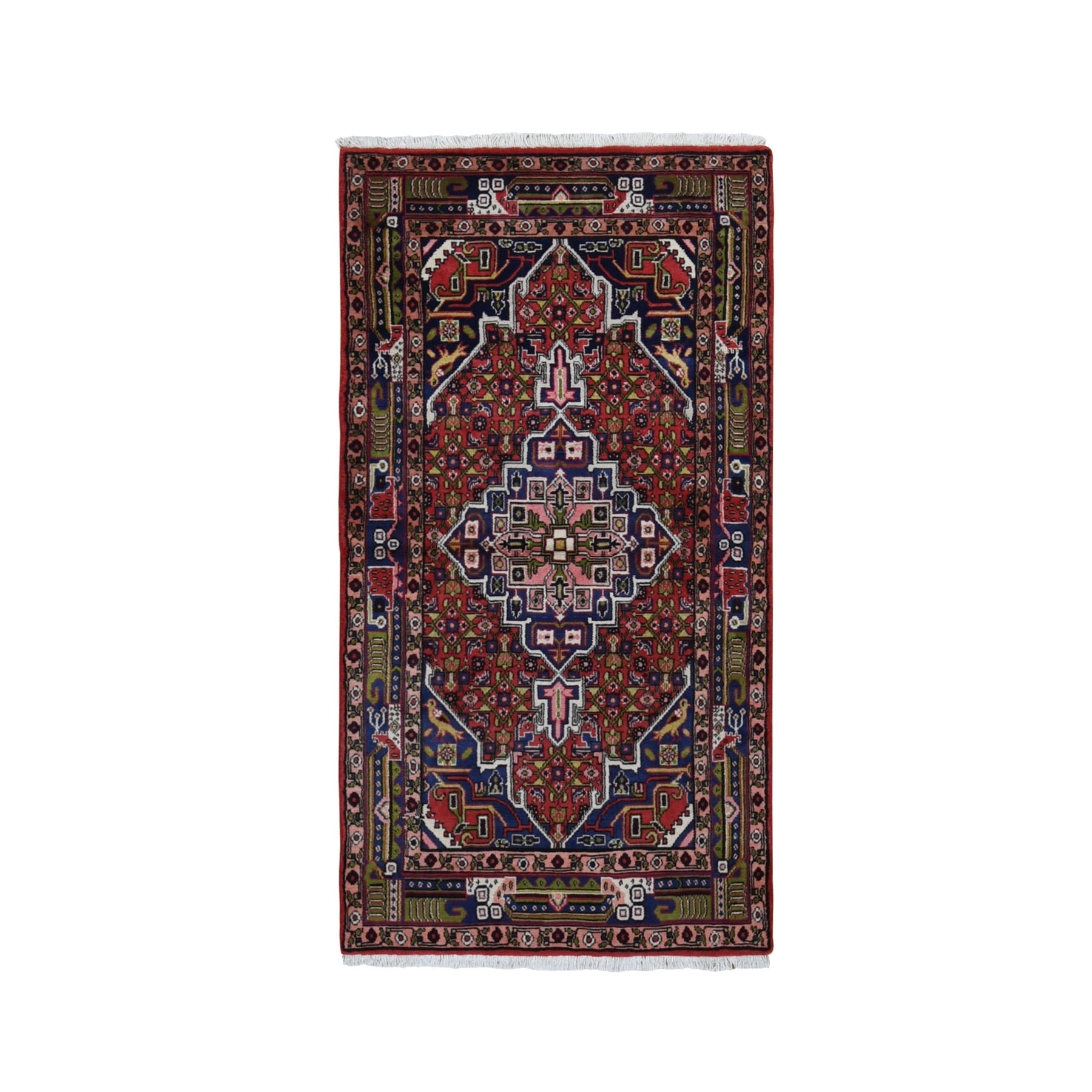 "3'4""x6'2"" Red New Persian Hamadan Senneh Weave Pure Wool Hand Knotted Bohemian Rug"