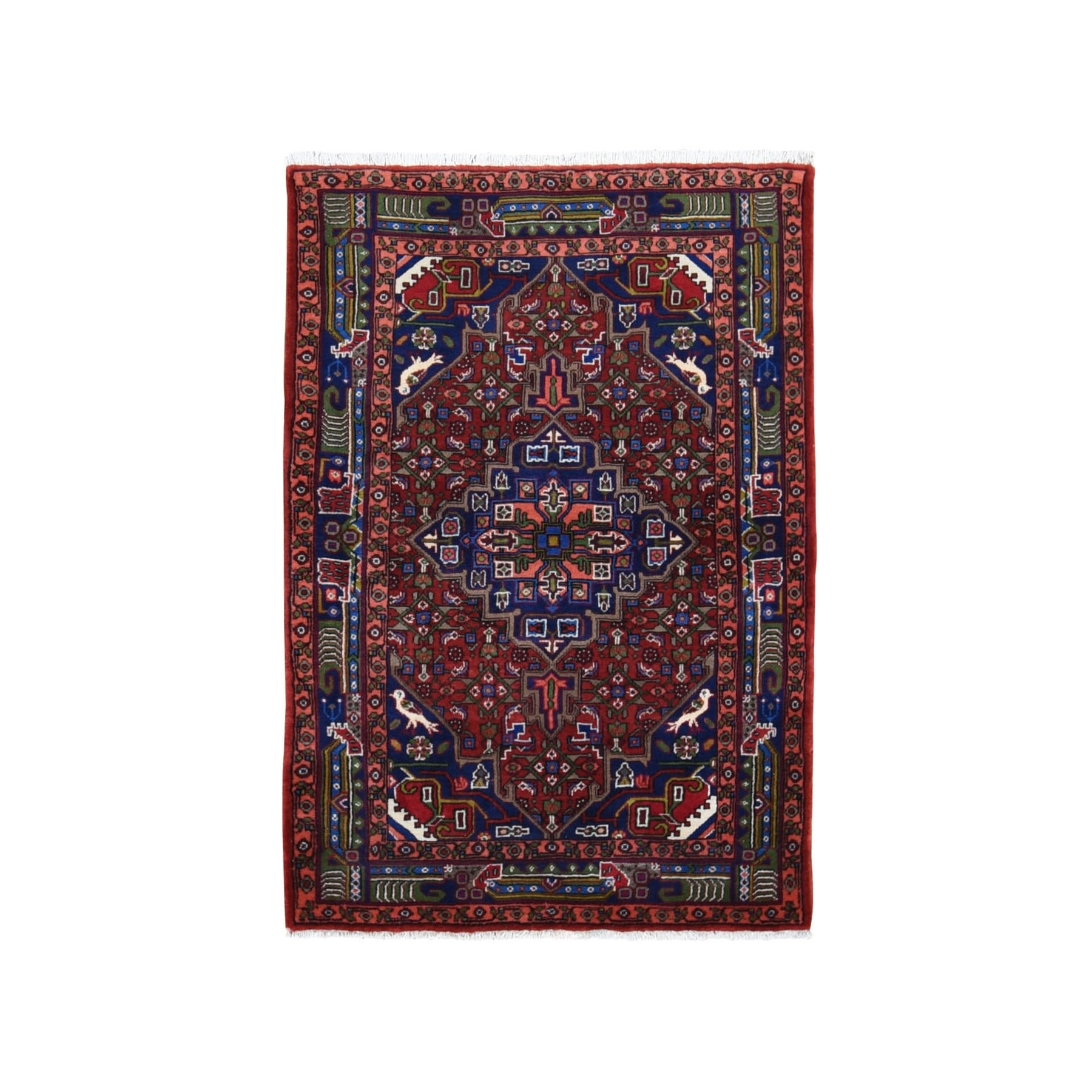 "3'5""x4'10"" Red New Persian Senneh Dense Weave Pure Wool Hand Knotted Oriental Rug"