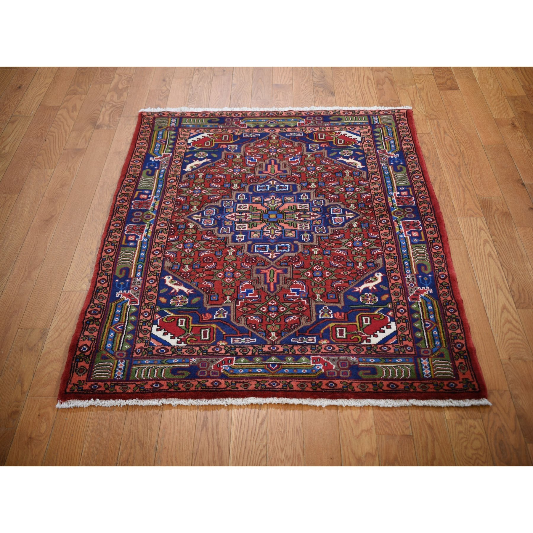 3-5 x4-10  Red New Persian Senneh Dense Weave Pure Wool Hand Knotted Oriental Rug