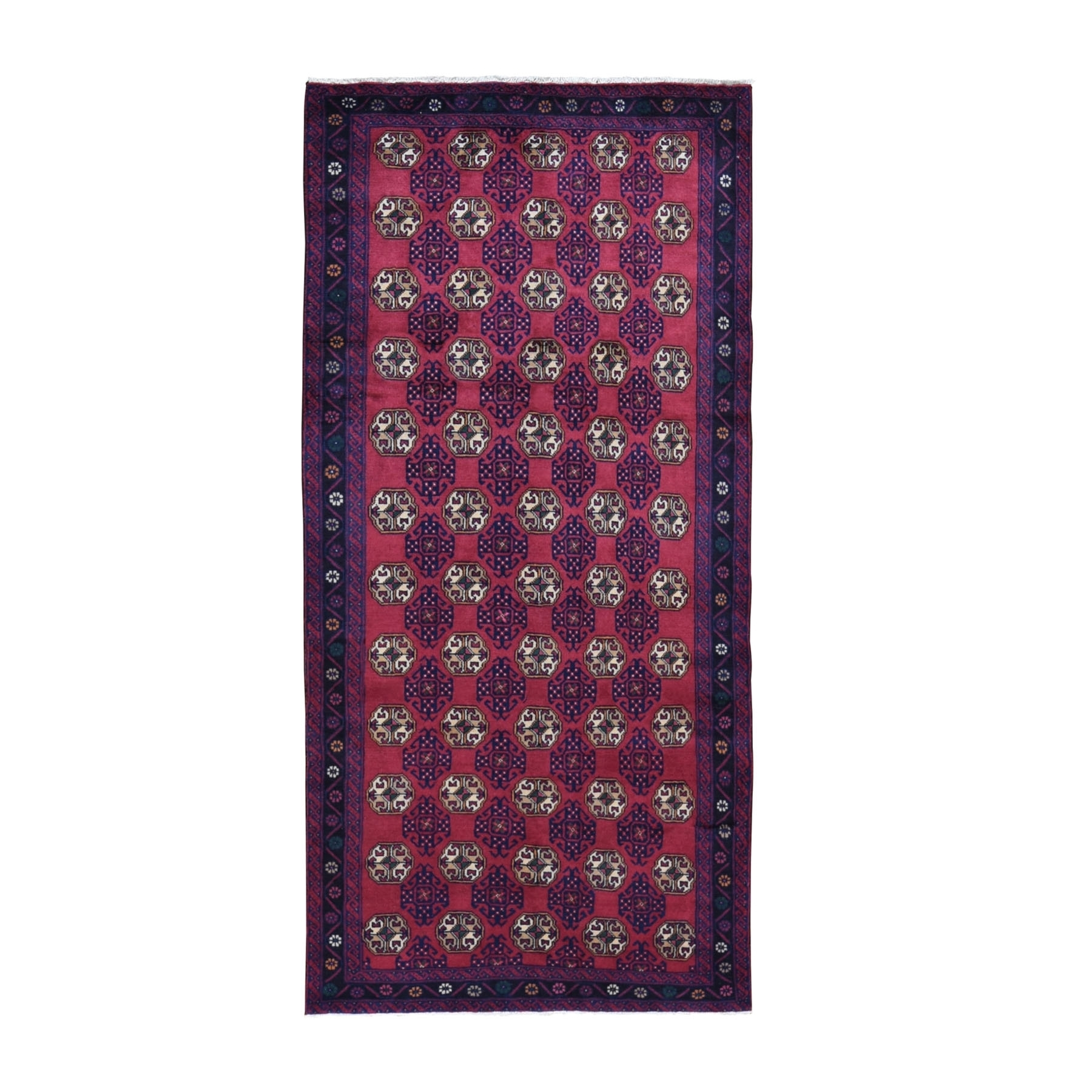 "4'2""x8'10"" Red Vintage Persian Baluch Wide Runner Tribal Design Pure Wool Hand Knotted Oriental Rug"