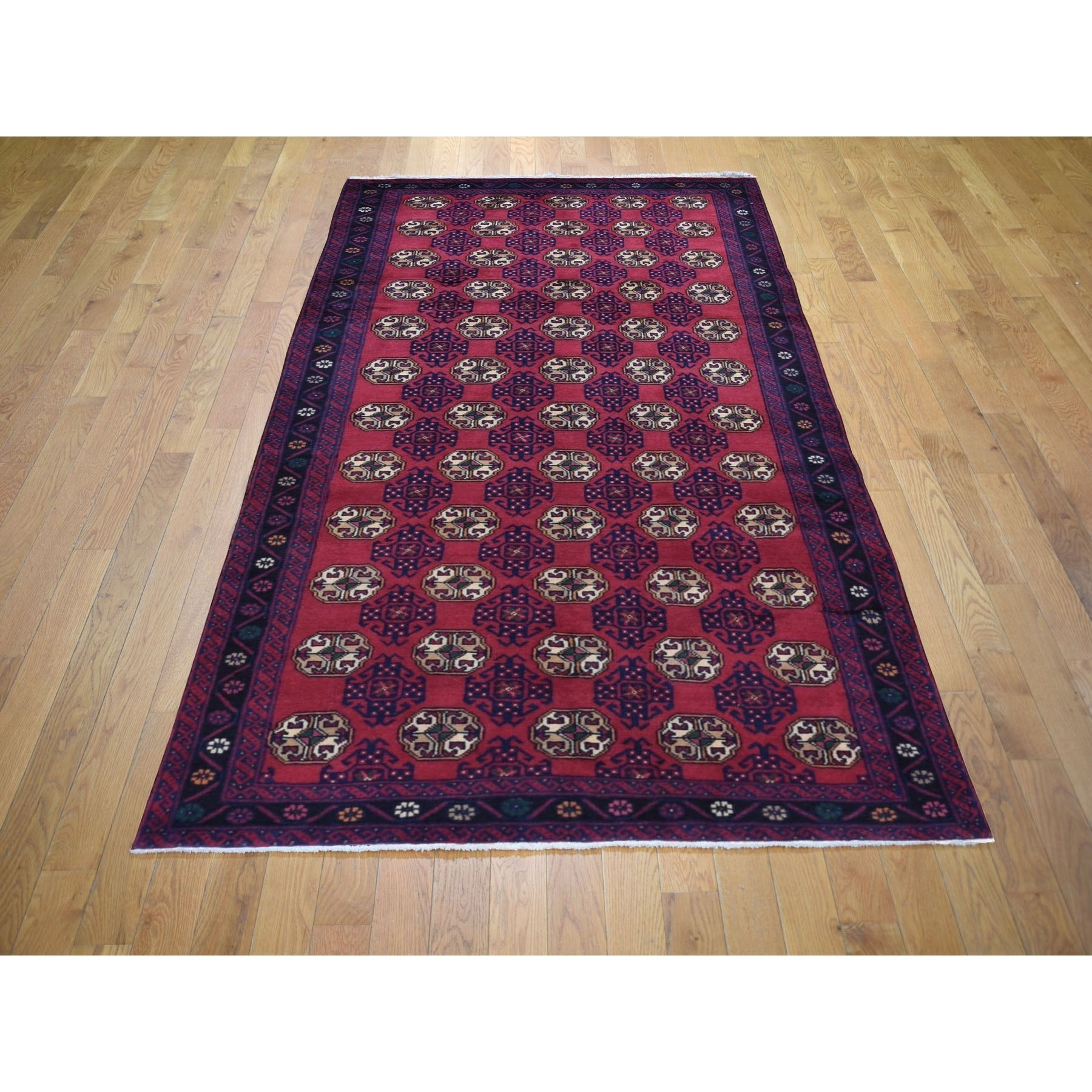 4-2 x8-10  Red Vintage Persian Baluch Wide Runner Tribal Design Pure Wool Hand Knotted Oriental Rug