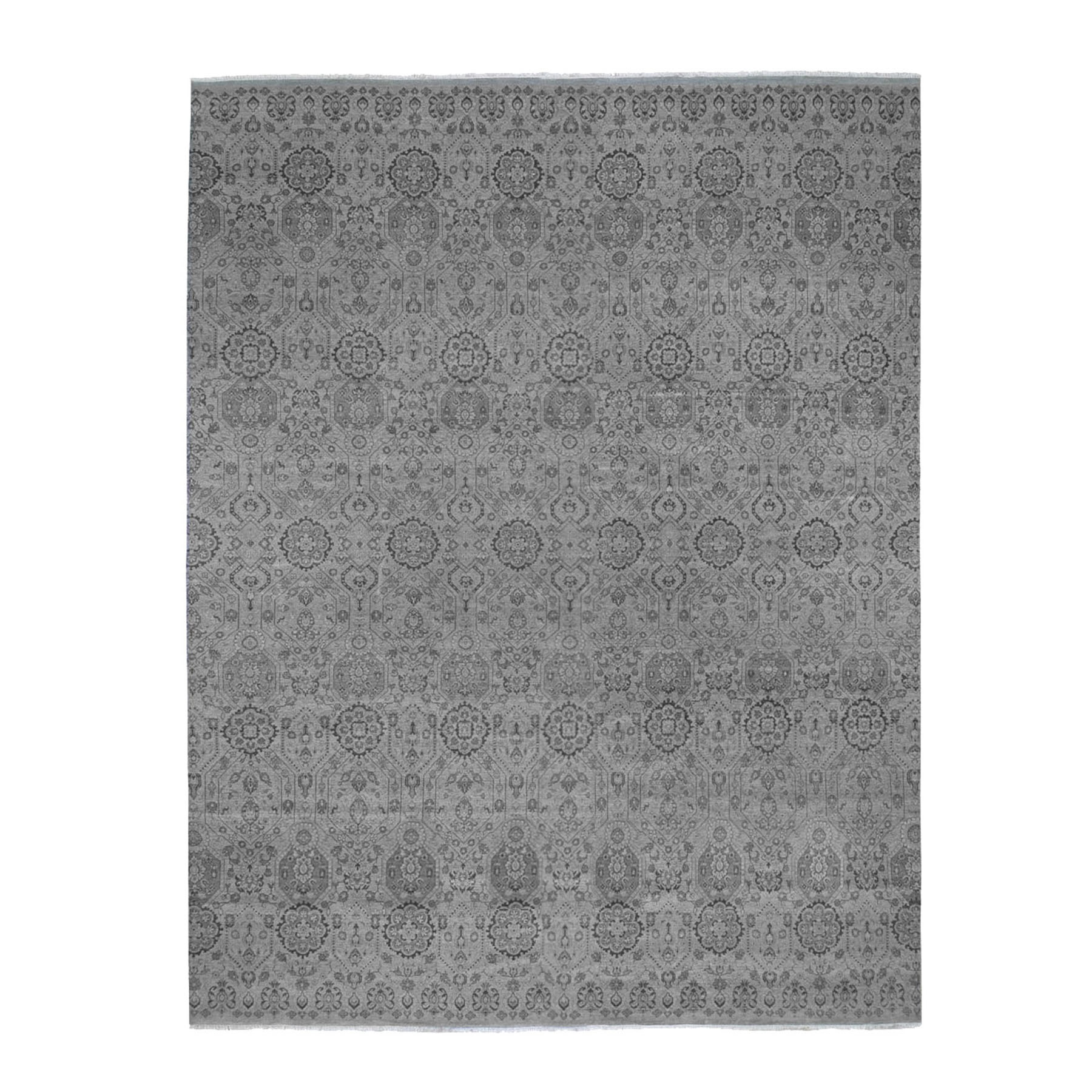 "11'10""x14'10"" Oversized Gray Jewellery Design Pure Wool Hand Knotted Oriental Rug"
