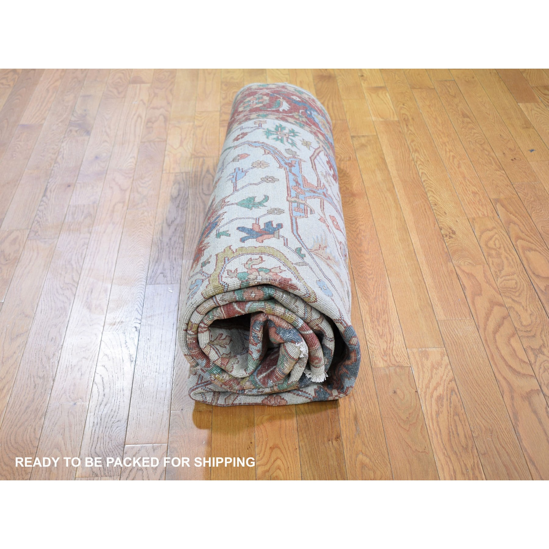 """8'1""""x10' Ivory Heriz Re-Creation Vegetable DyesPure Wool Hand Knotted Oriental Rug"""