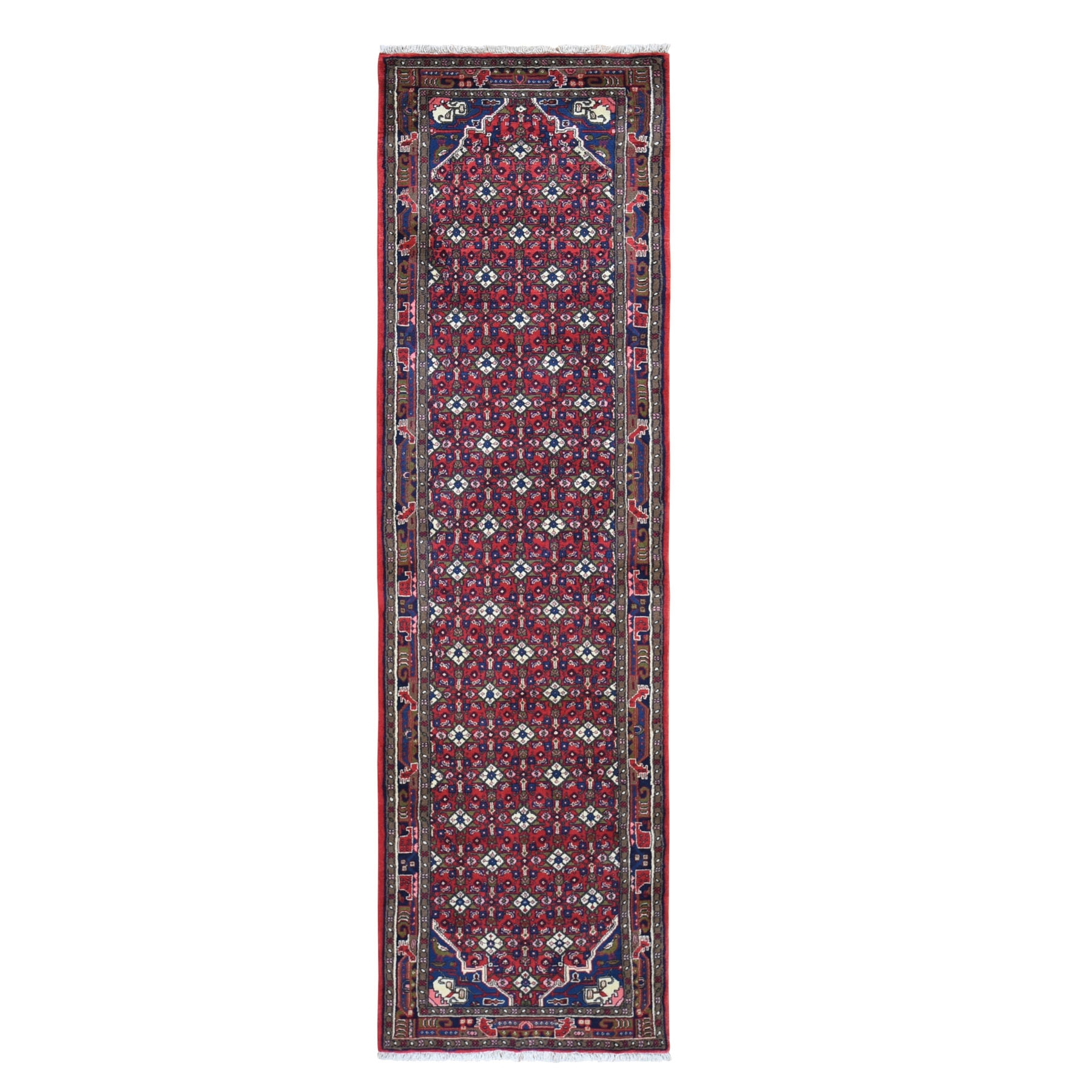 "2'8""x9'1"" Red New Persian Senneh Dense Weave Mahi Fish Design Pure Wool Runner Oriental Rug"