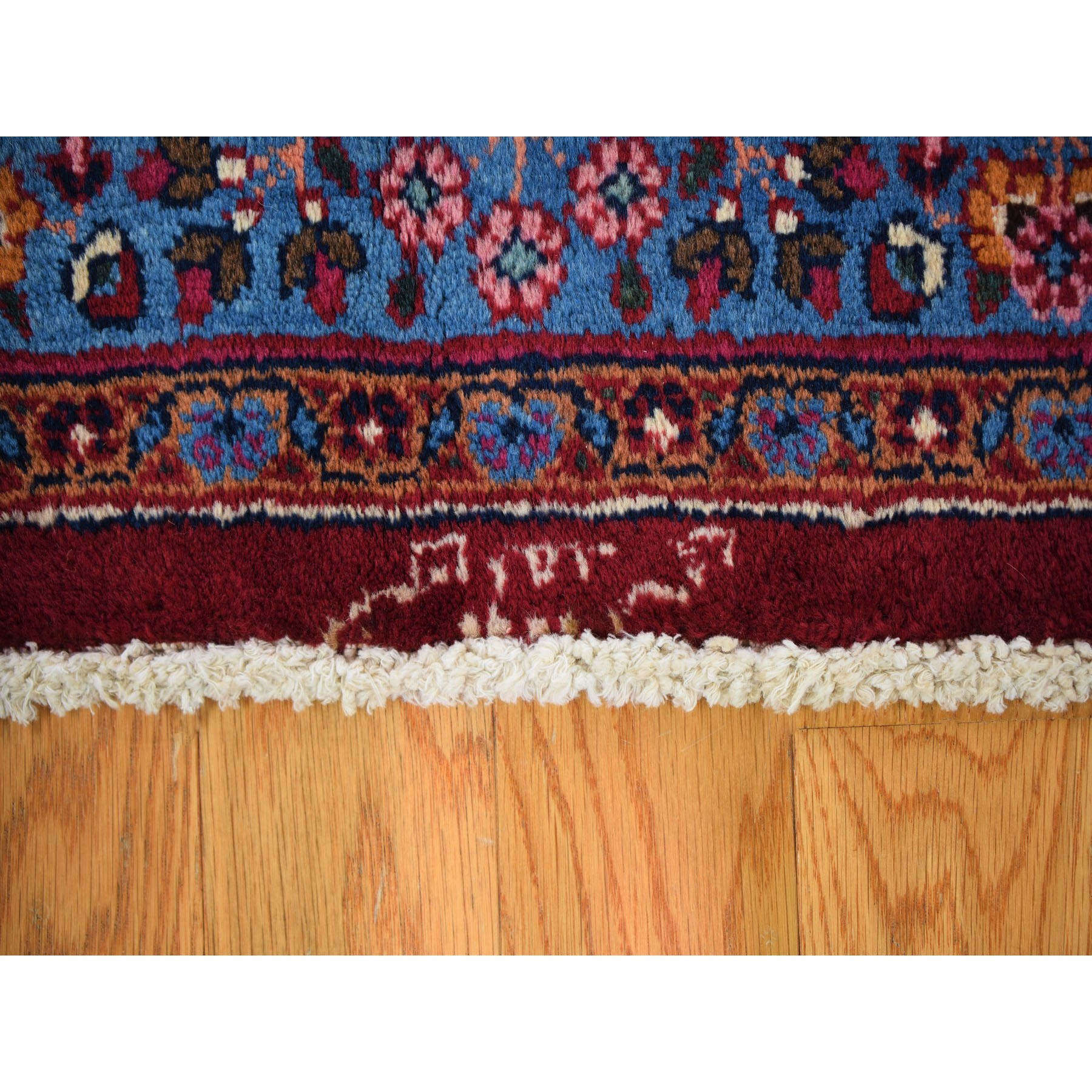 6-7 x10- Red Semi Antique Persian Mashad Signed Full Pile Hand Knotted Oriental Rug