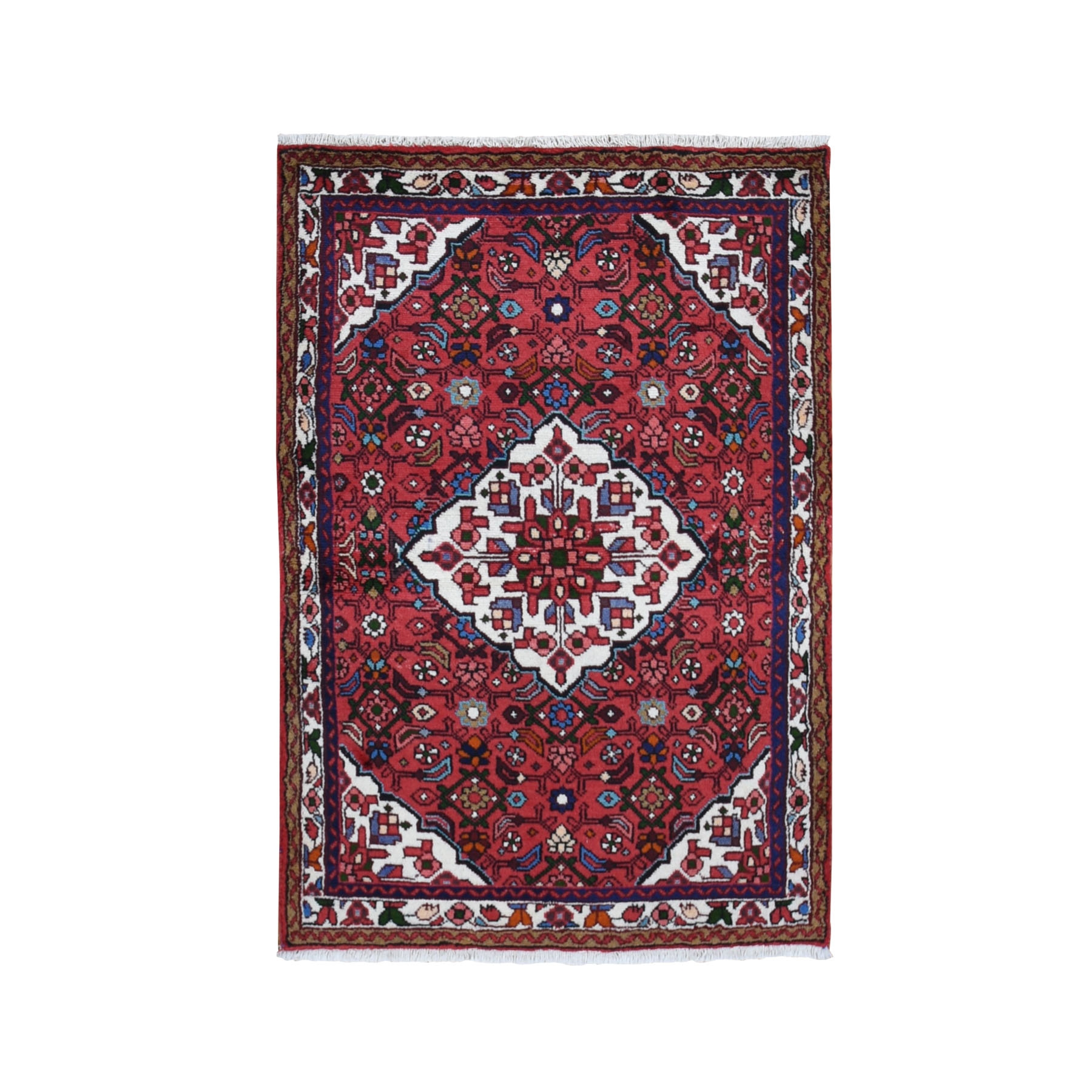 "3'7""x5'2"" Red New Persian Hamadan Pure Wool Hand Knotted Bohemian Rug"