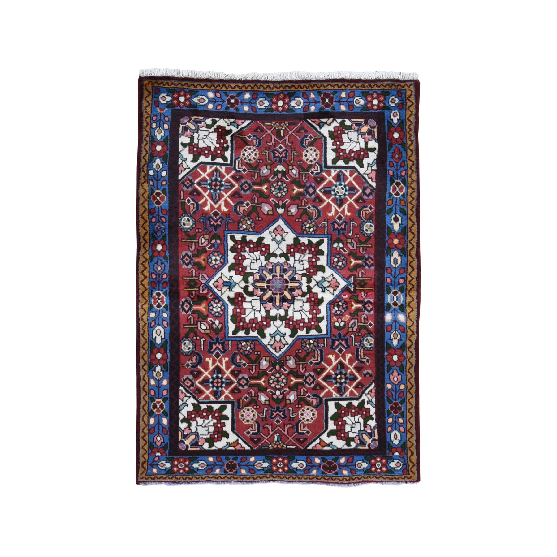 "3'4""x4'10"" Red New Persian Hamadan Flower Bouquet Design Pure Wool Hand Knotted Bohemian Rug"