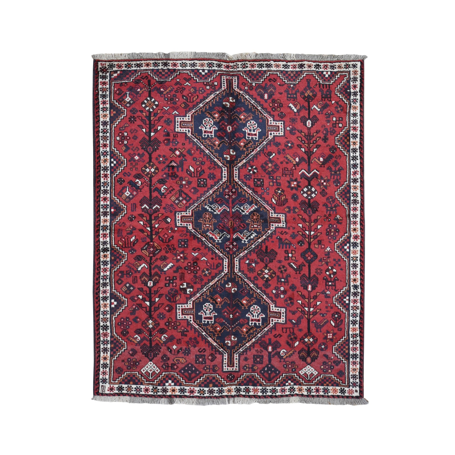 "5'3""x6'6"" Red New Persian Shiraz Pure Wool Hand Knotted Oriental Rug"