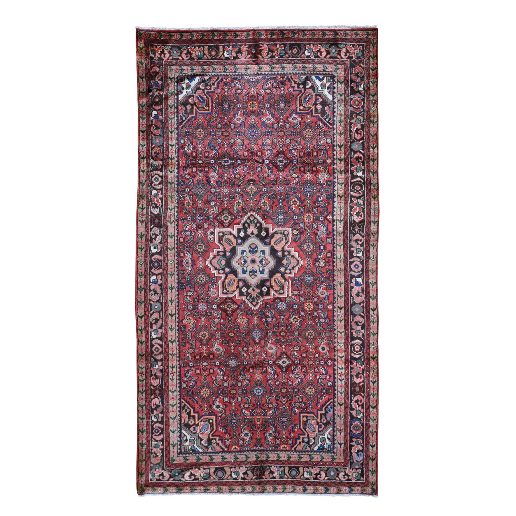 "5'5""x10'5"" Gallery Size Red Vintage Persian Hamadan Full Pile Pure Wool Hand Knotted Oriental Rug"
