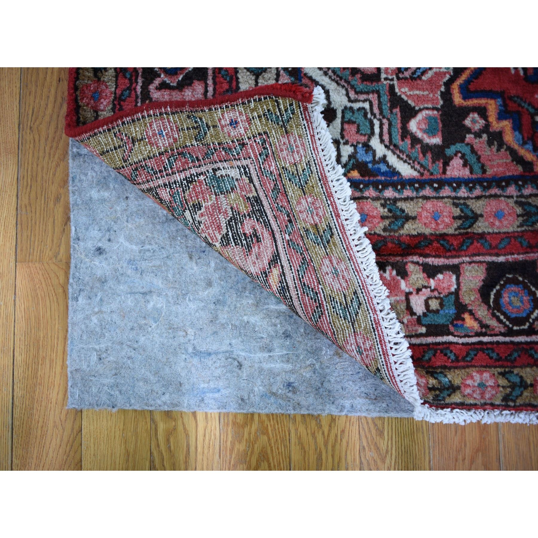 5-5 x10-5  Gallery Size Red Vintage Persian Hamadan Full Pile Pure Wool Hand Knotted Oriental Rug