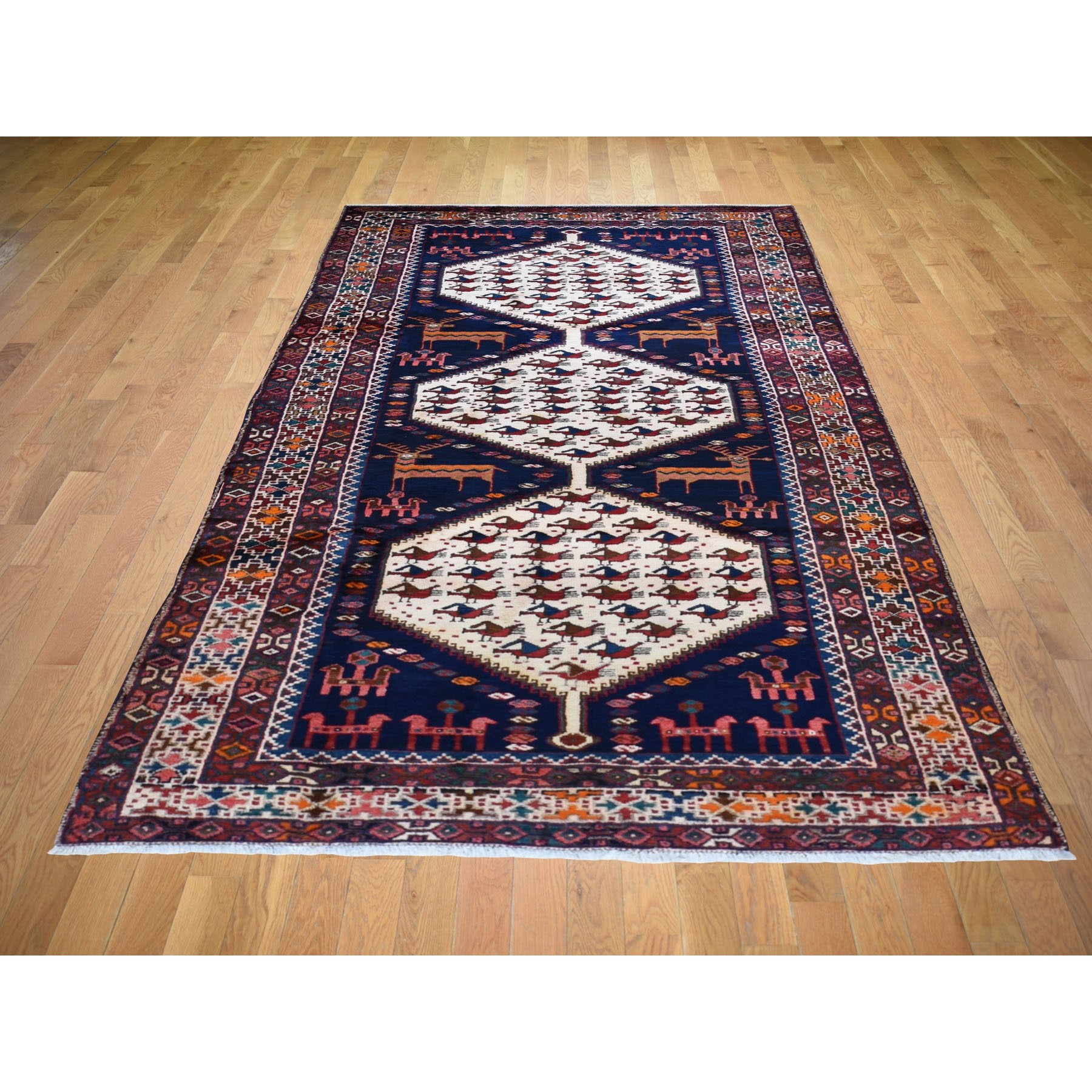 5-x10- Gallery Size Navy Blue Vintage Persian North West Persian ,Deers, Dogs And Birds Pure Wool Rug