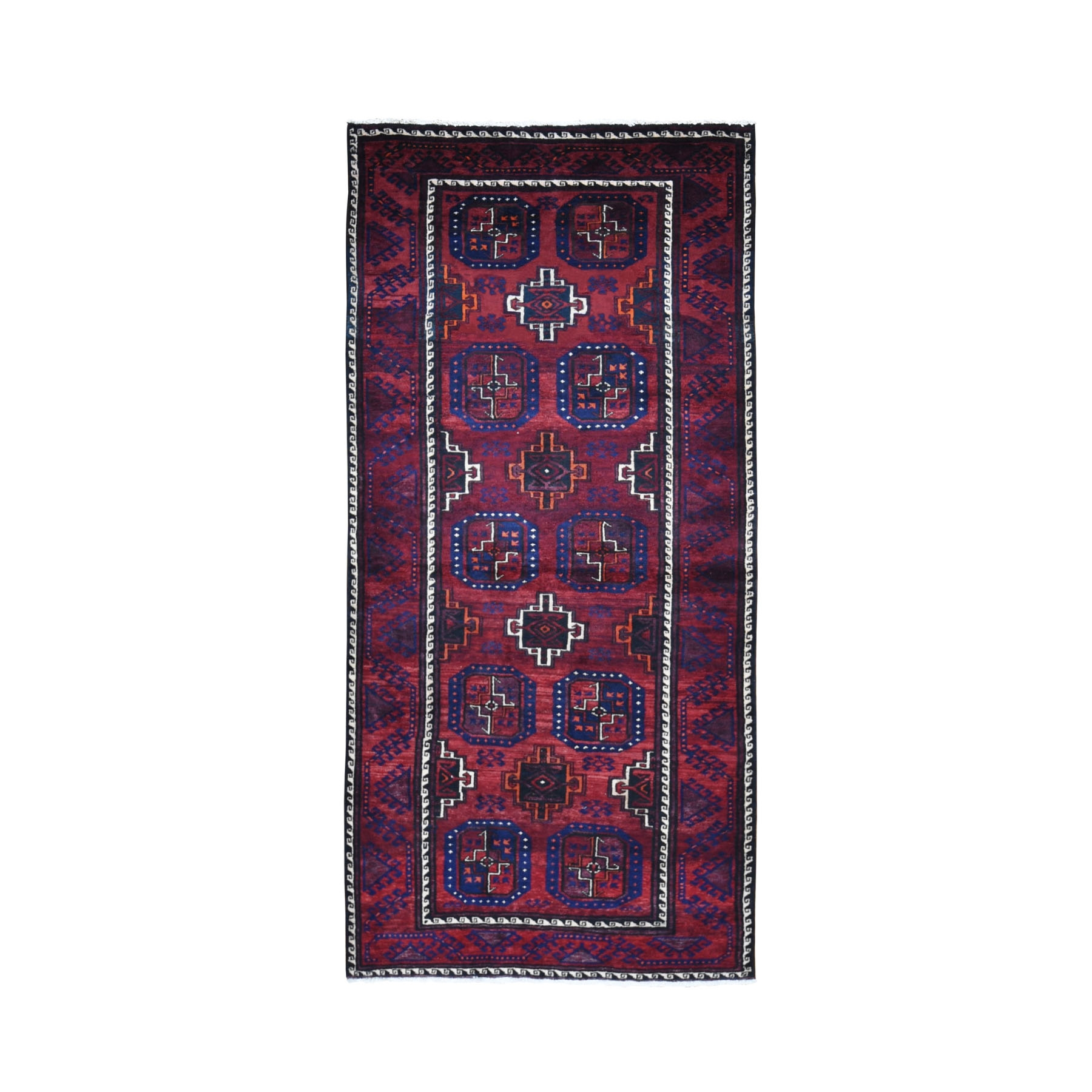 "3'4""x7'1"" Red Vintage Persian Baluch Geometric Design Runner Pure Wool Hand Knotted Oriental Rug"