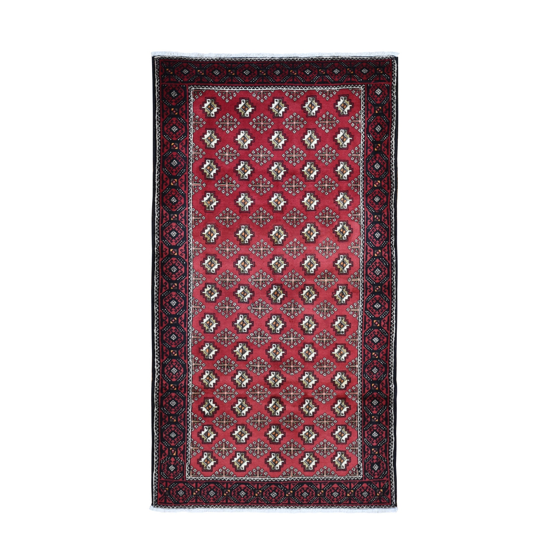 "4'4""x8'3"" Red Vintage Persian Baluch Geometric Design Exc Cond Pure Wool Hand Knotted Oriental Rug"
