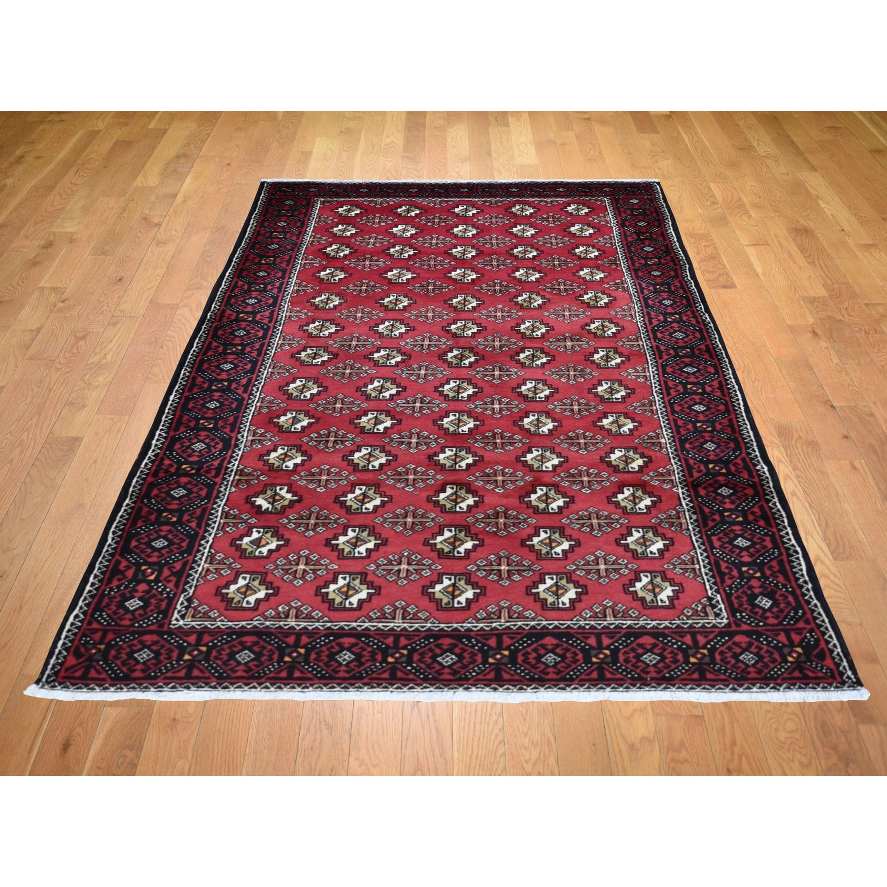4-4 x8-3  Red Vintage Persian Baluch Geometric Design Exc Cond Pure Wool Hand Knotted Oriental Rug