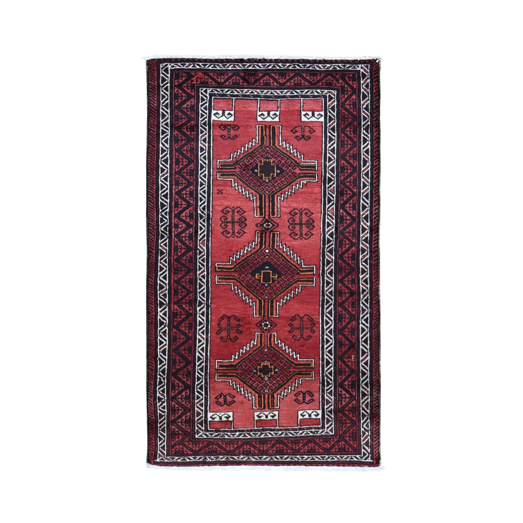 "3'8""x6'6"" Light Red Vintage Persian Baluch Exc Cond Pure Wool Hand Knotted Oriental Rug"