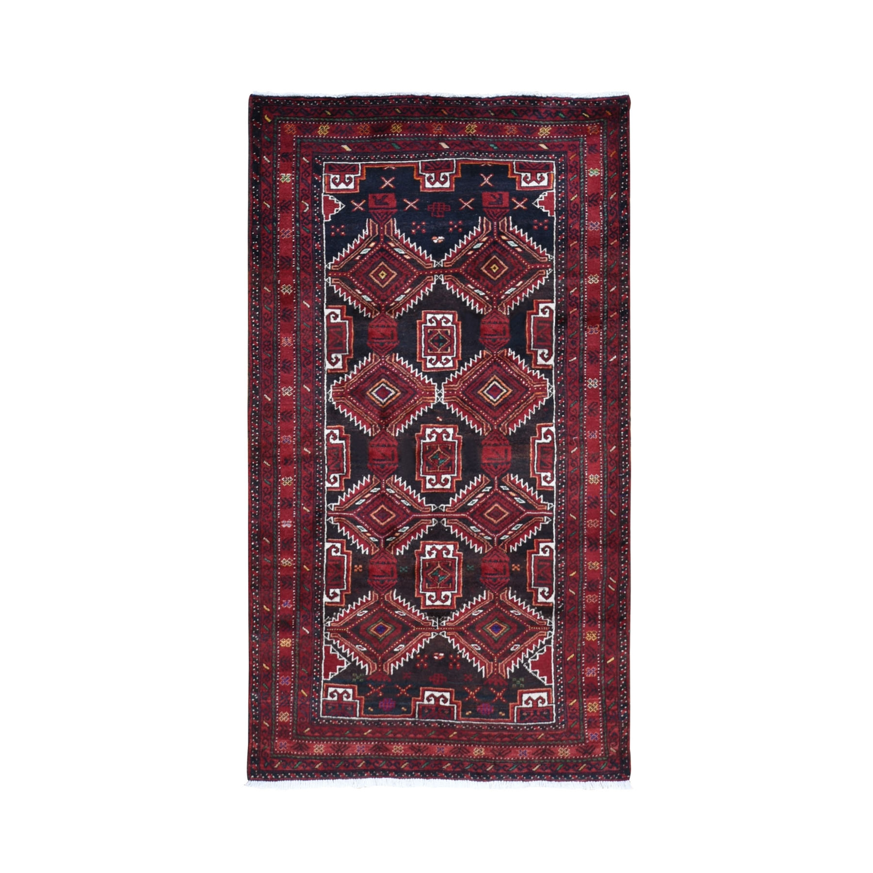 "3'7""X6'5"" Red Vintage Persian Baluch Geometric Design Exc Cond Pure Wool Hand Knotted Oriental Rug moad99bd"