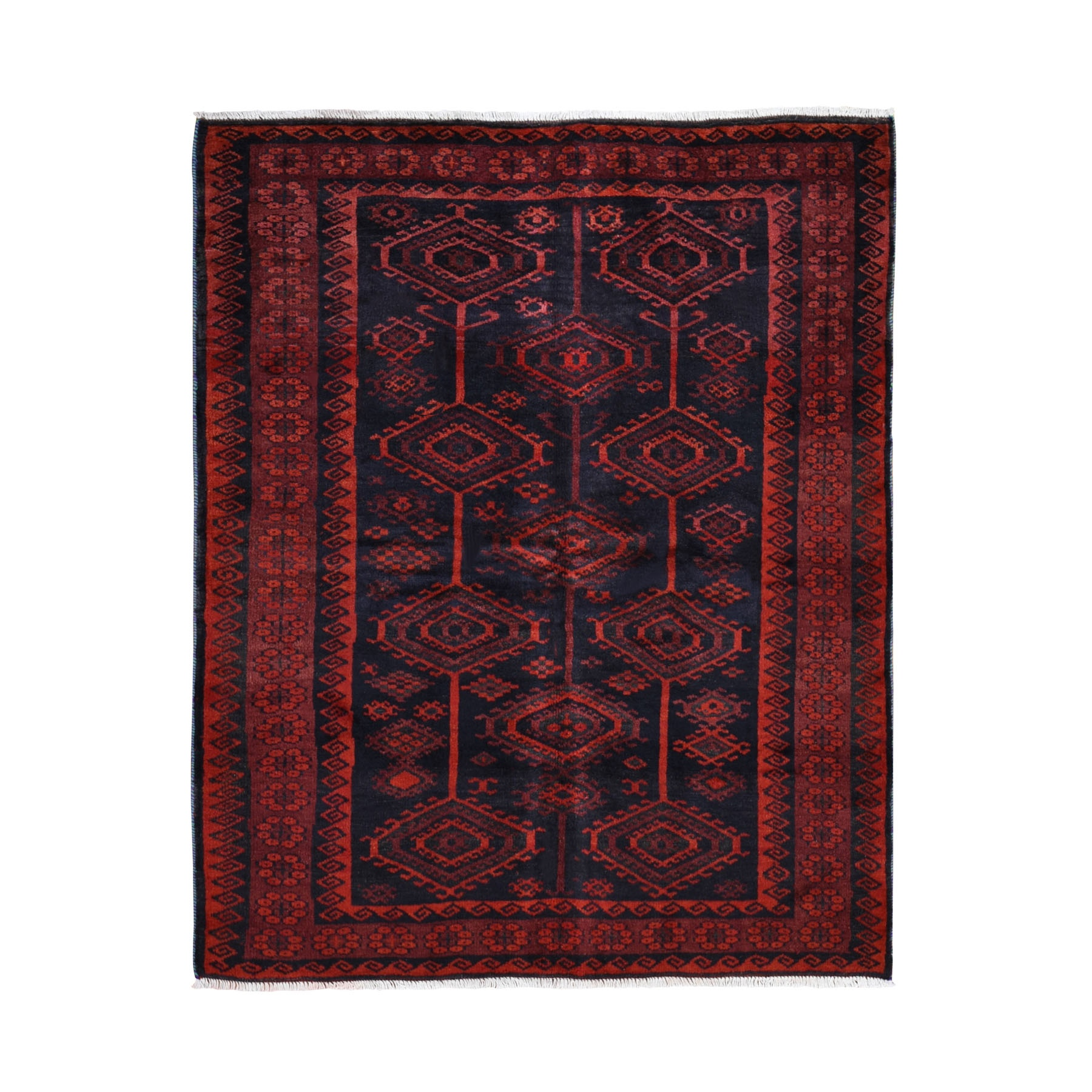 "5'6""X7'1"" Red Vintage Persian Baluch Geometric Design Exc Cond Pure Wool Hand Knotted Oriental Rug moad99b9"